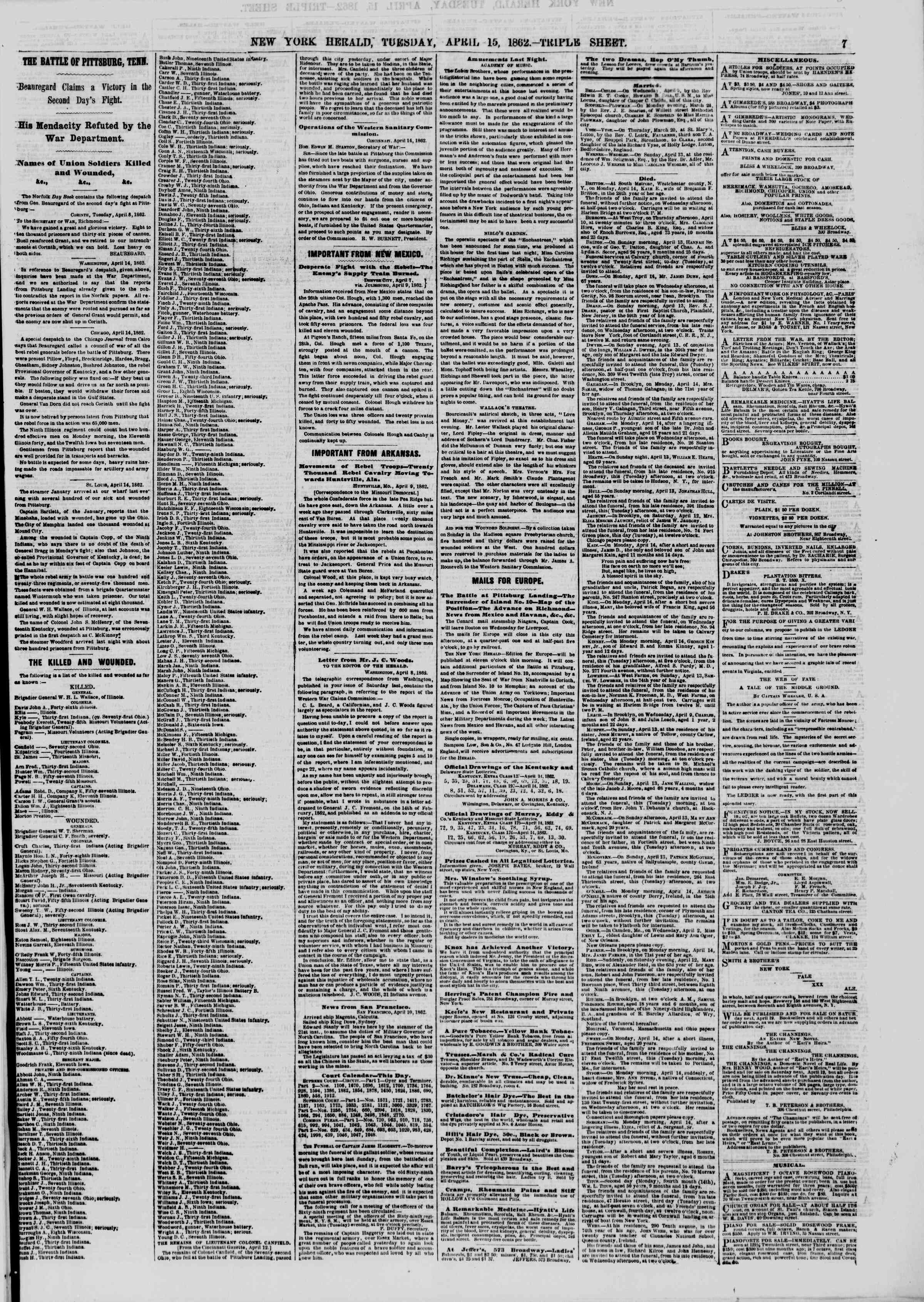 Newspaper of The New York Herald dated 15 Nisan 1862 Page 7