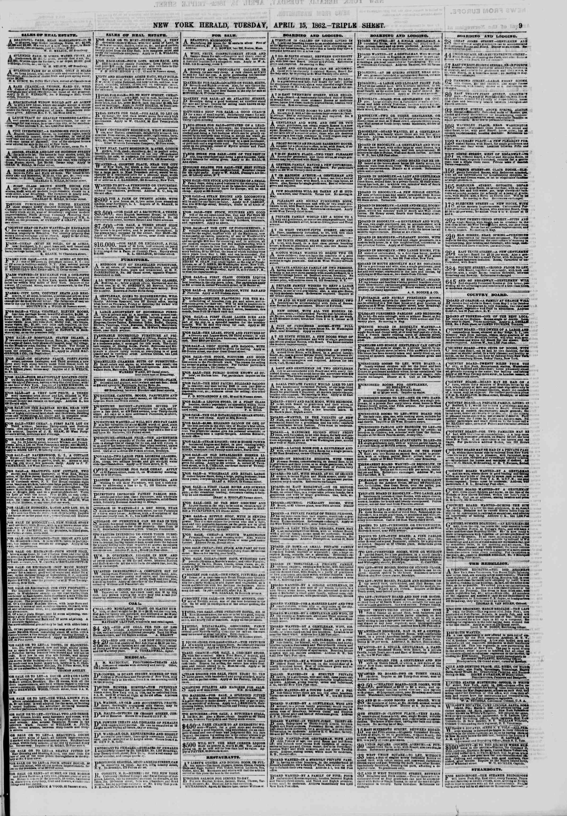 Newspaper of The New York Herald dated April 15, 1862 Page 9