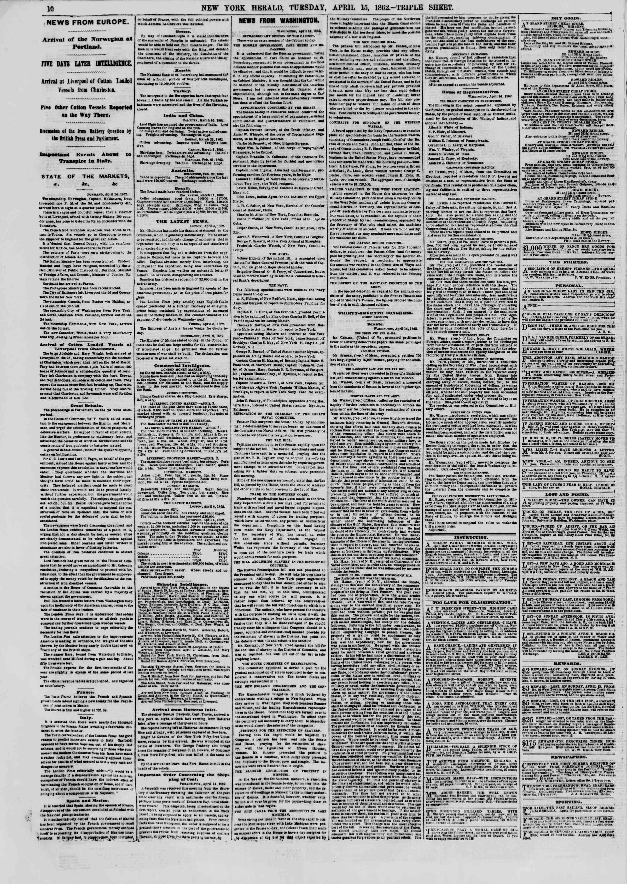 Newspaper of The New York Herald dated April 15, 1862 Page 10