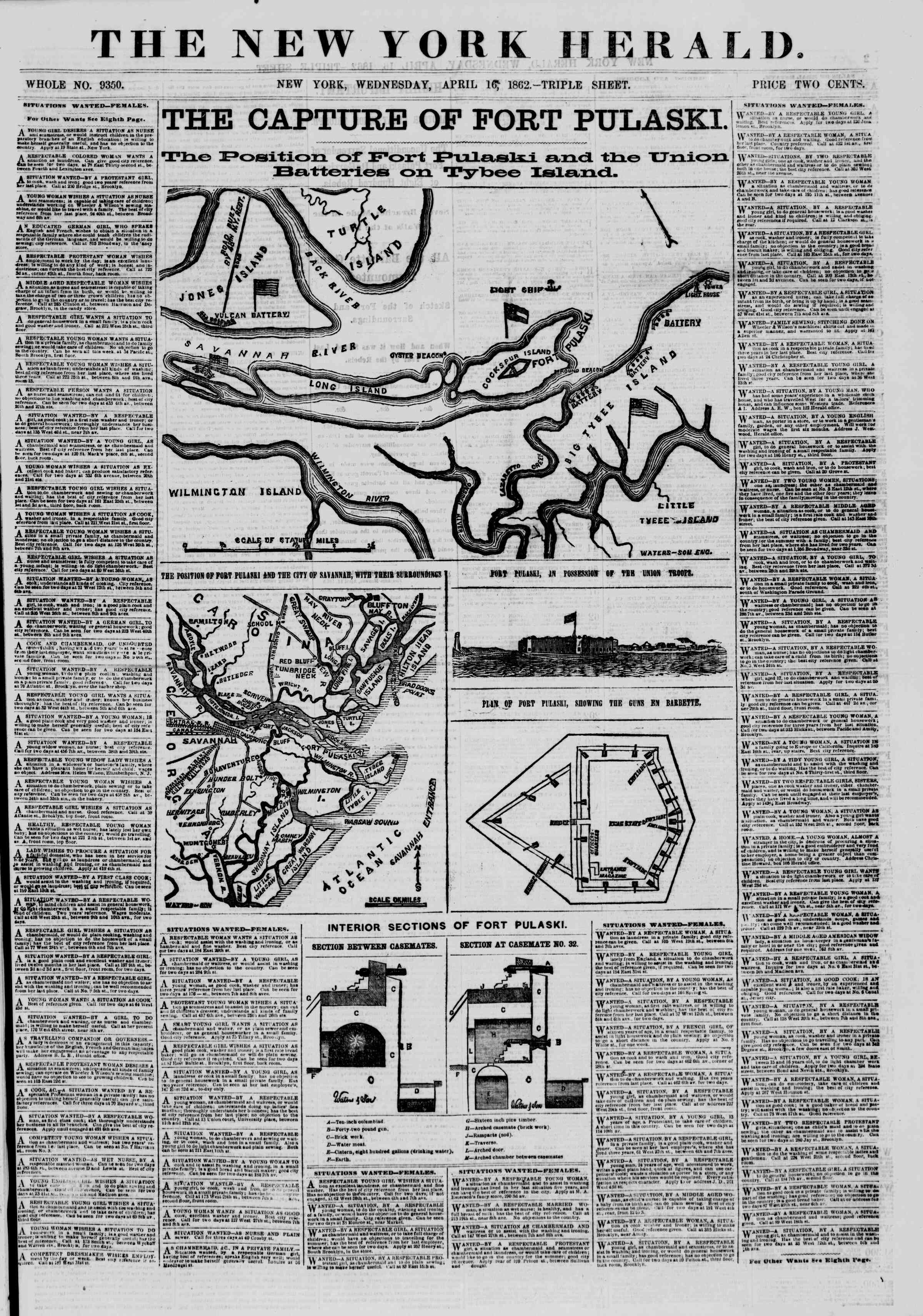 Newspaper of The New York Herald dated April 16, 1862 Page 1