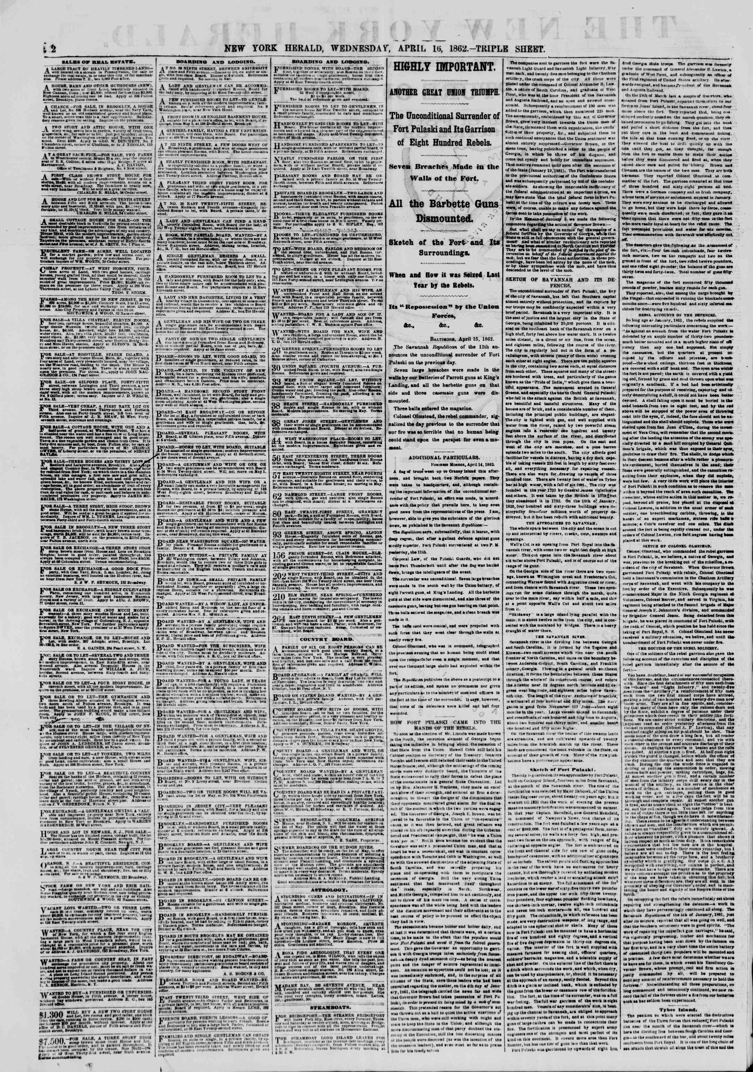 Newspaper of The New York Herald dated April 16, 1862 Page 2