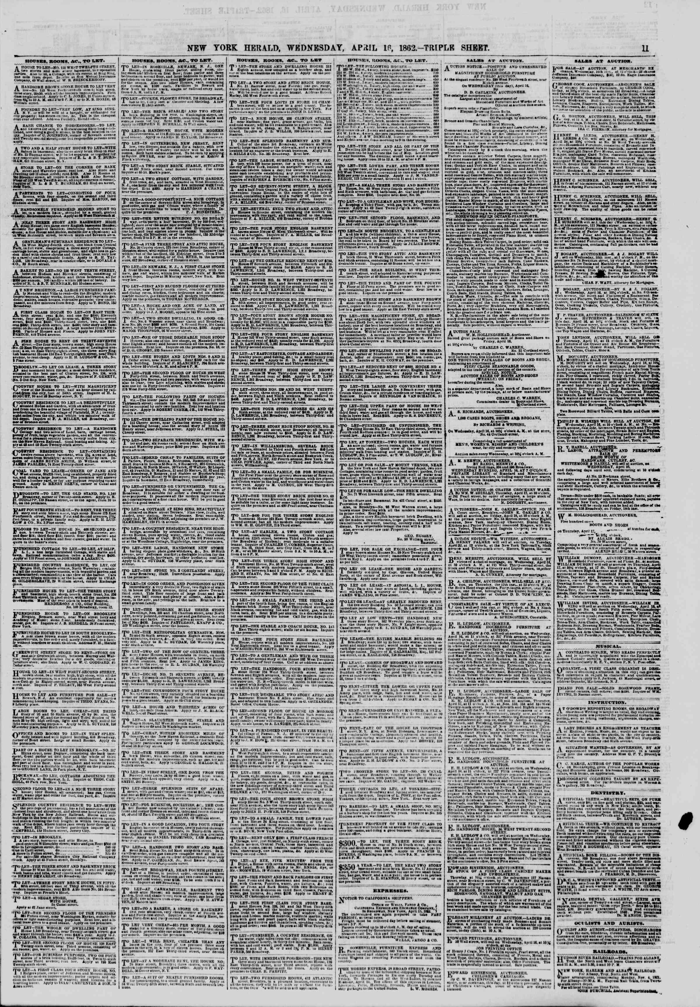 Newspaper of The New York Herald dated April 16, 1862 Page 11