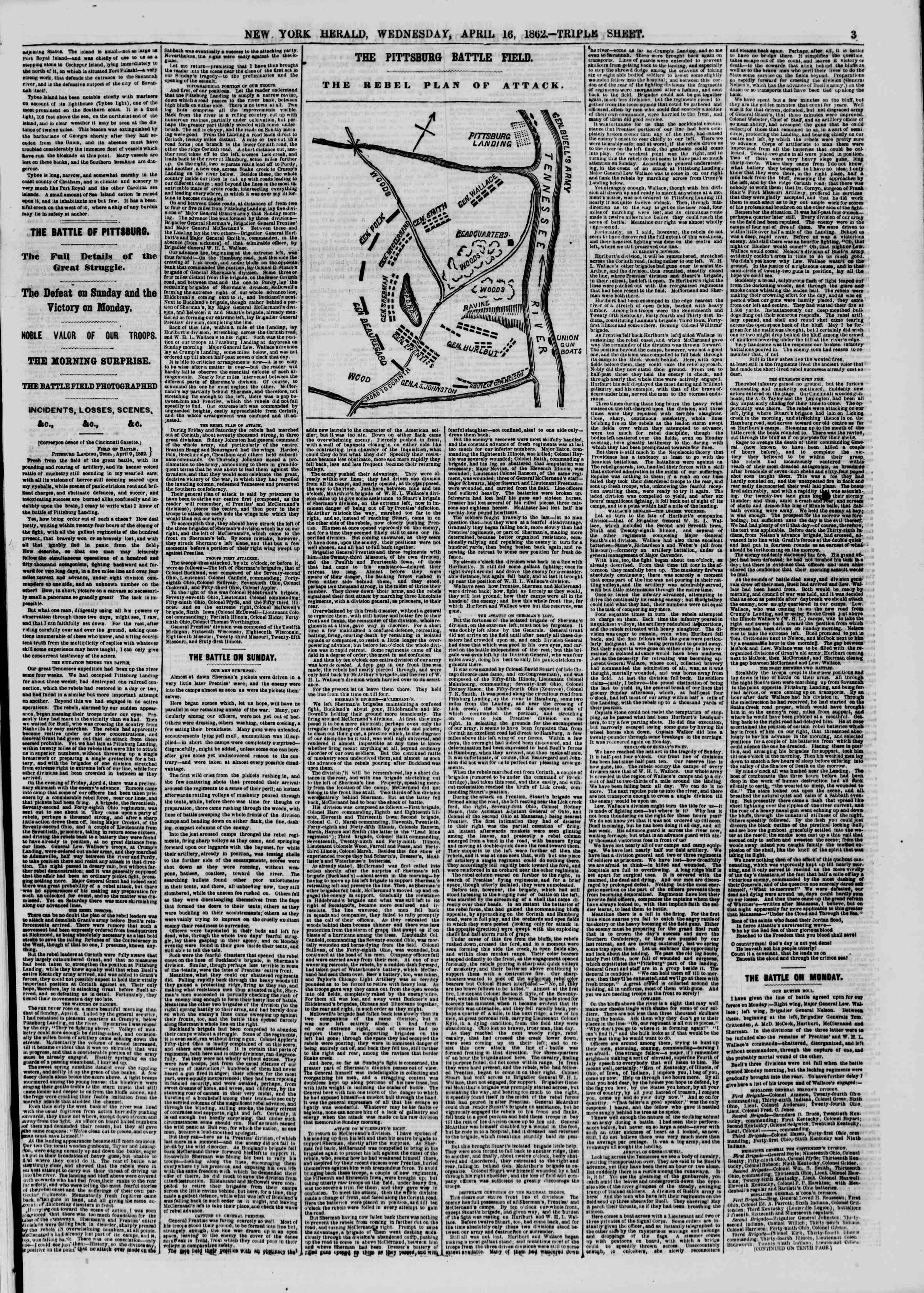 Newspaper of The New York Herald dated April 16, 1862 Page 3