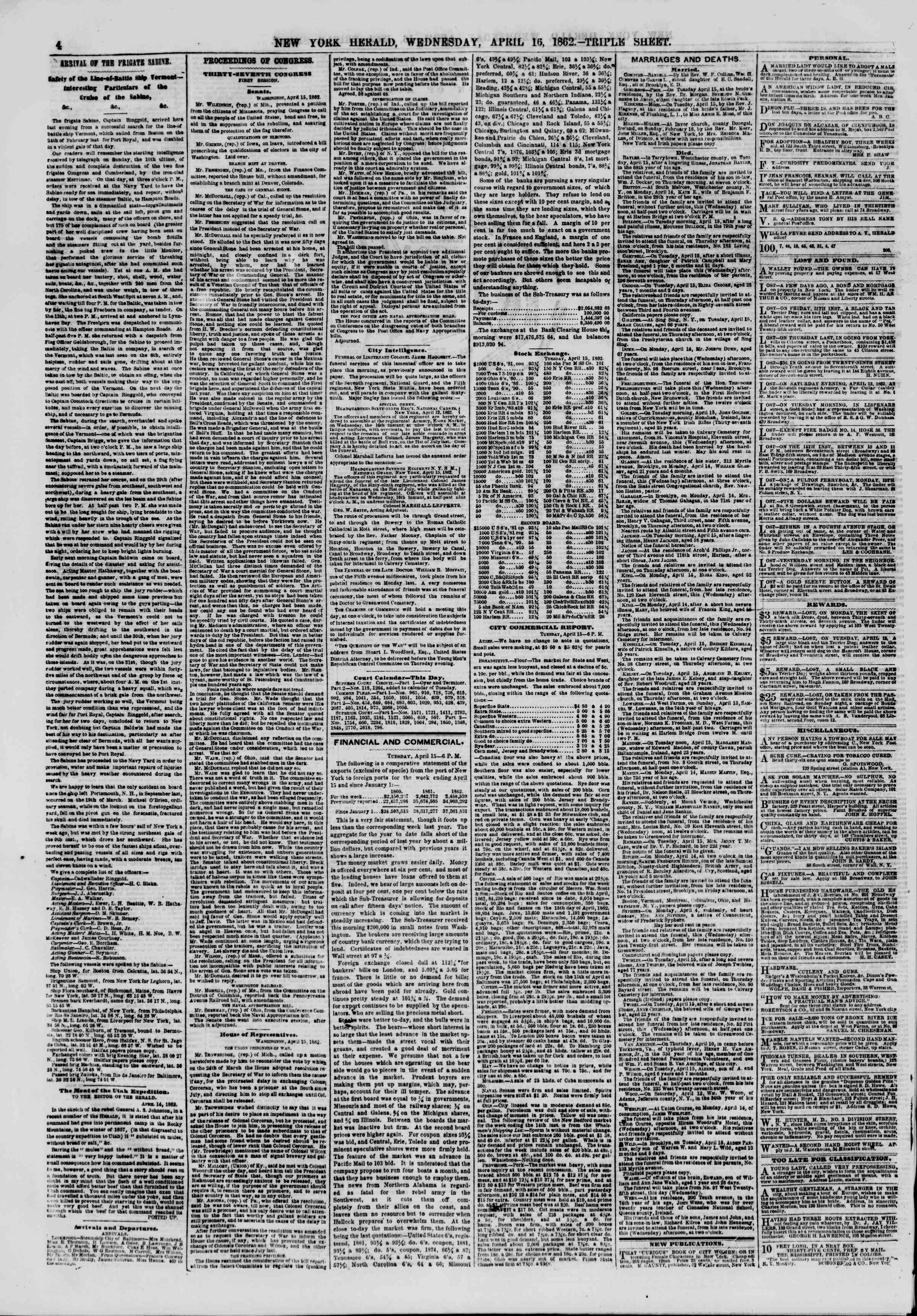 Newspaper of The New York Herald dated April 16, 1862 Page 4