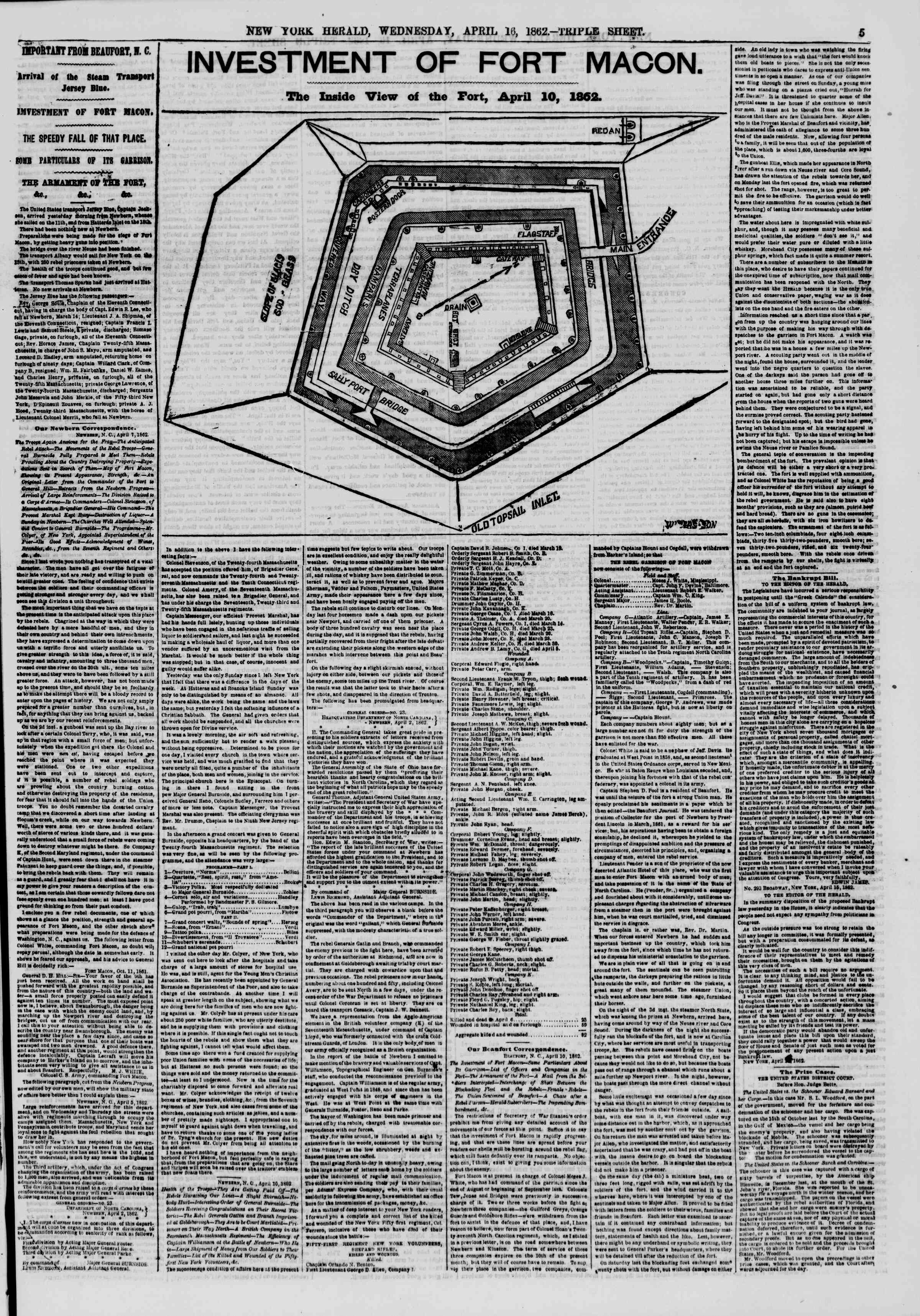 Newspaper of The New York Herald dated April 16, 1862 Page 5