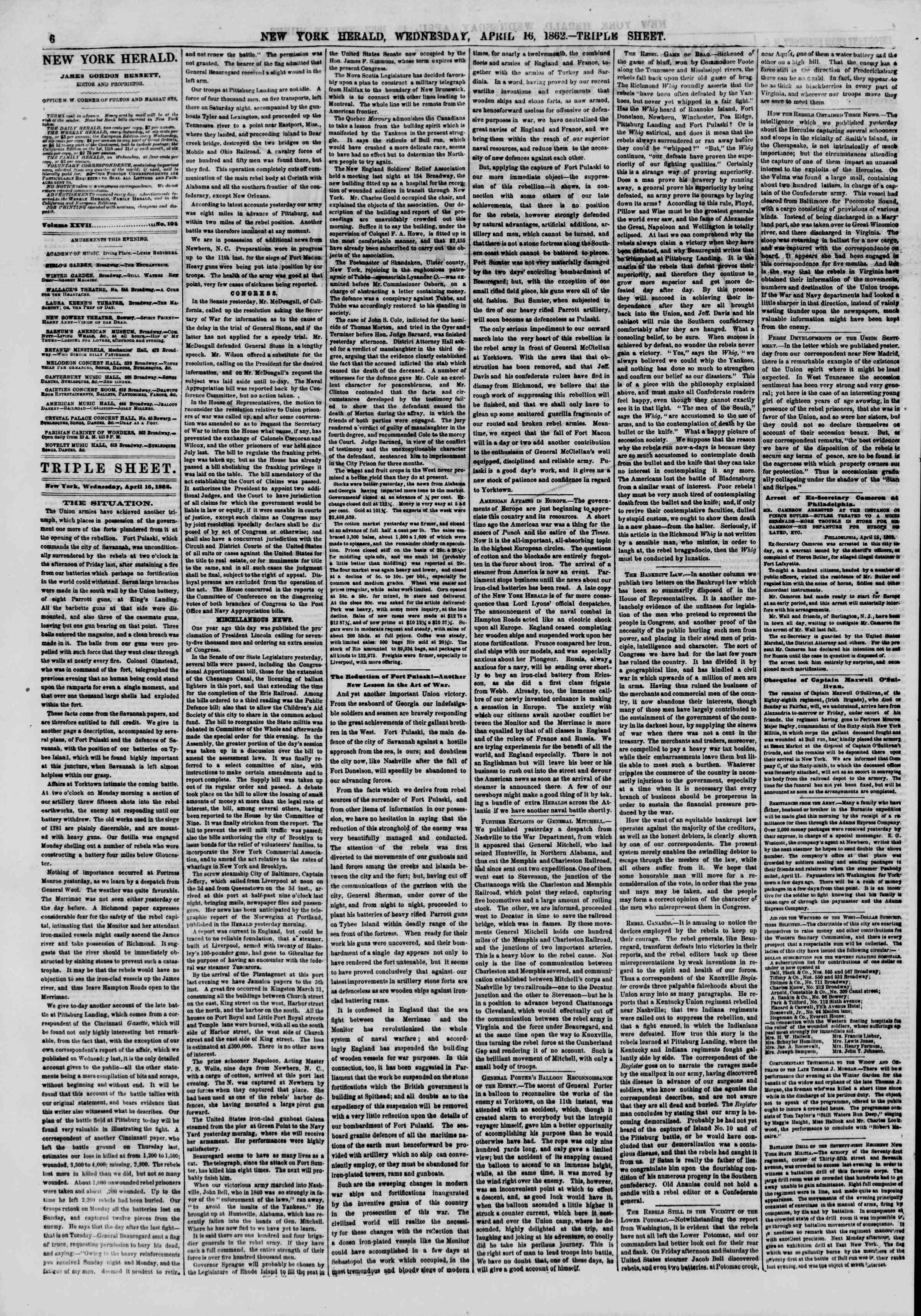 Newspaper of The New York Herald dated April 16, 1862 Page 6