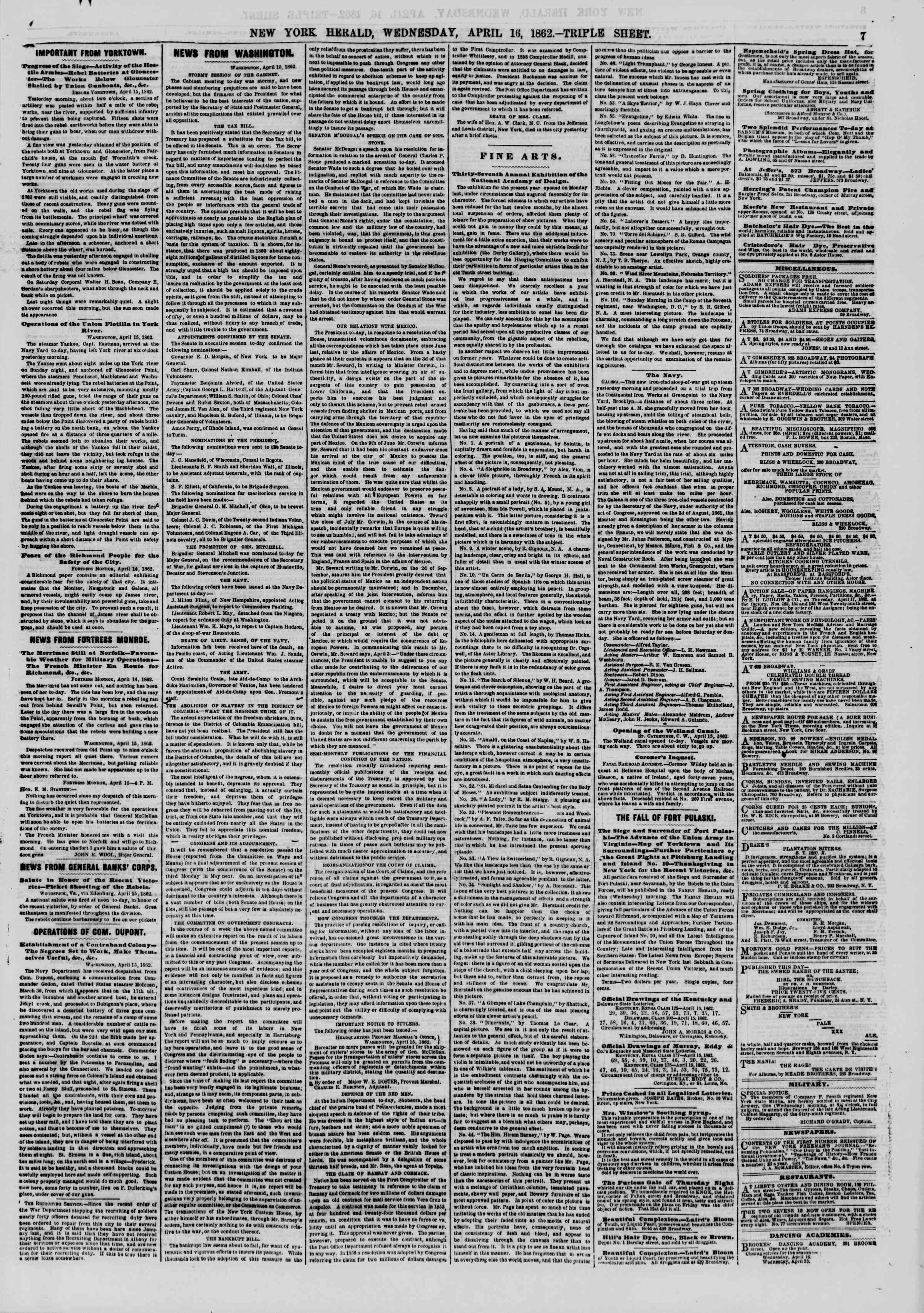 Newspaper of The New York Herald dated April 16, 1862 Page 7