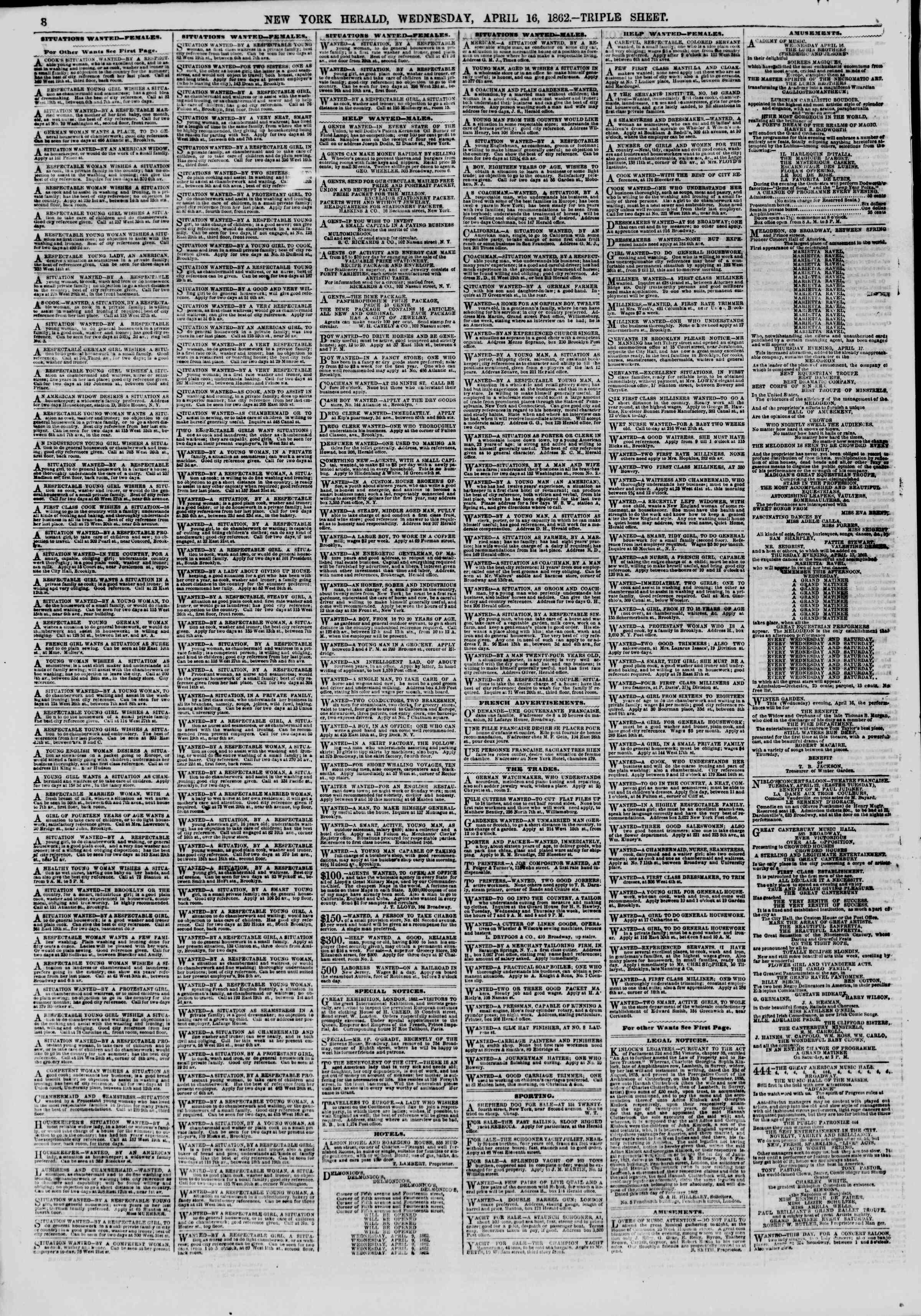 Newspaper of The New York Herald dated April 16, 1862 Page 8