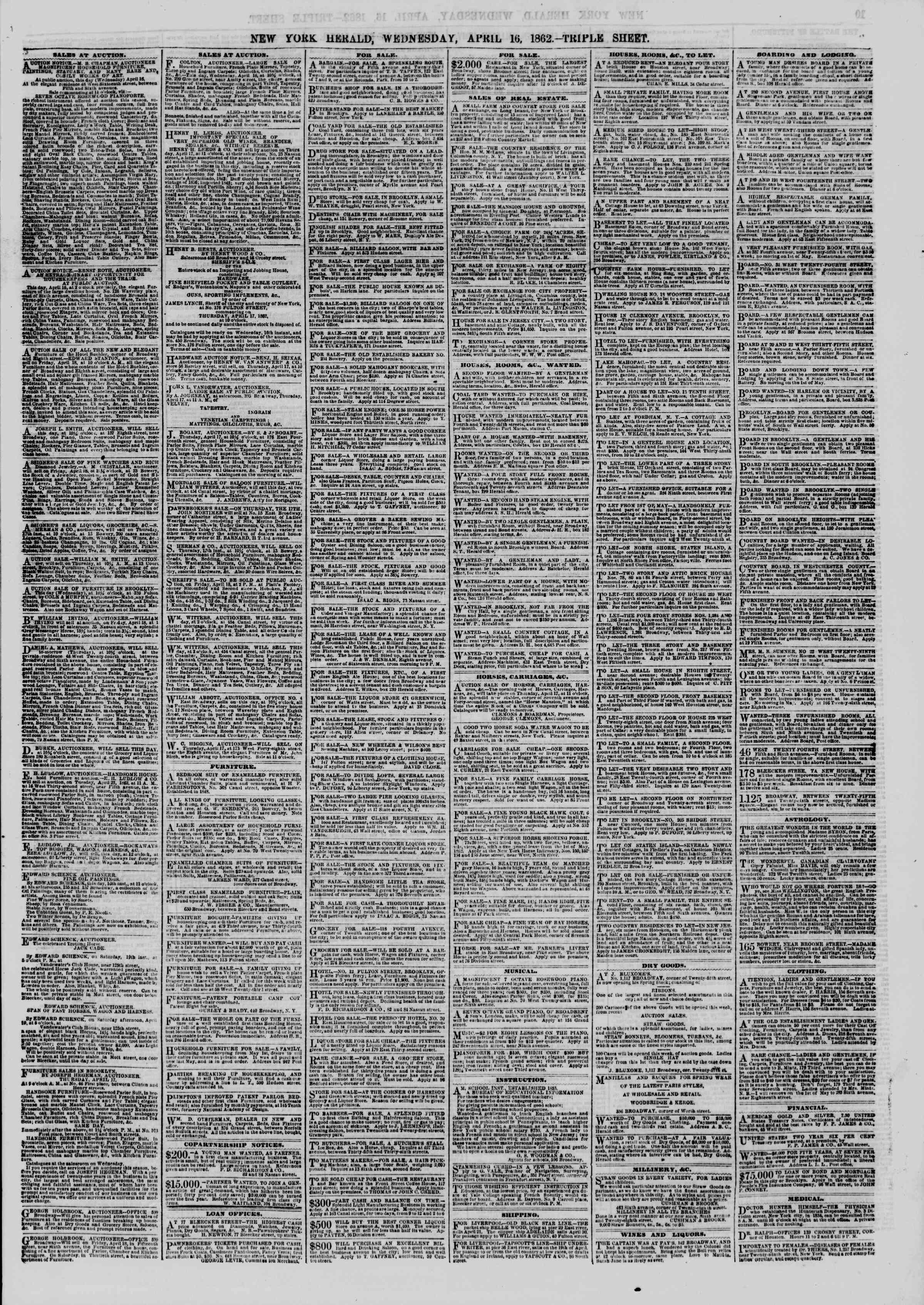 Newspaper of The New York Herald dated April 16, 1862 Page 9