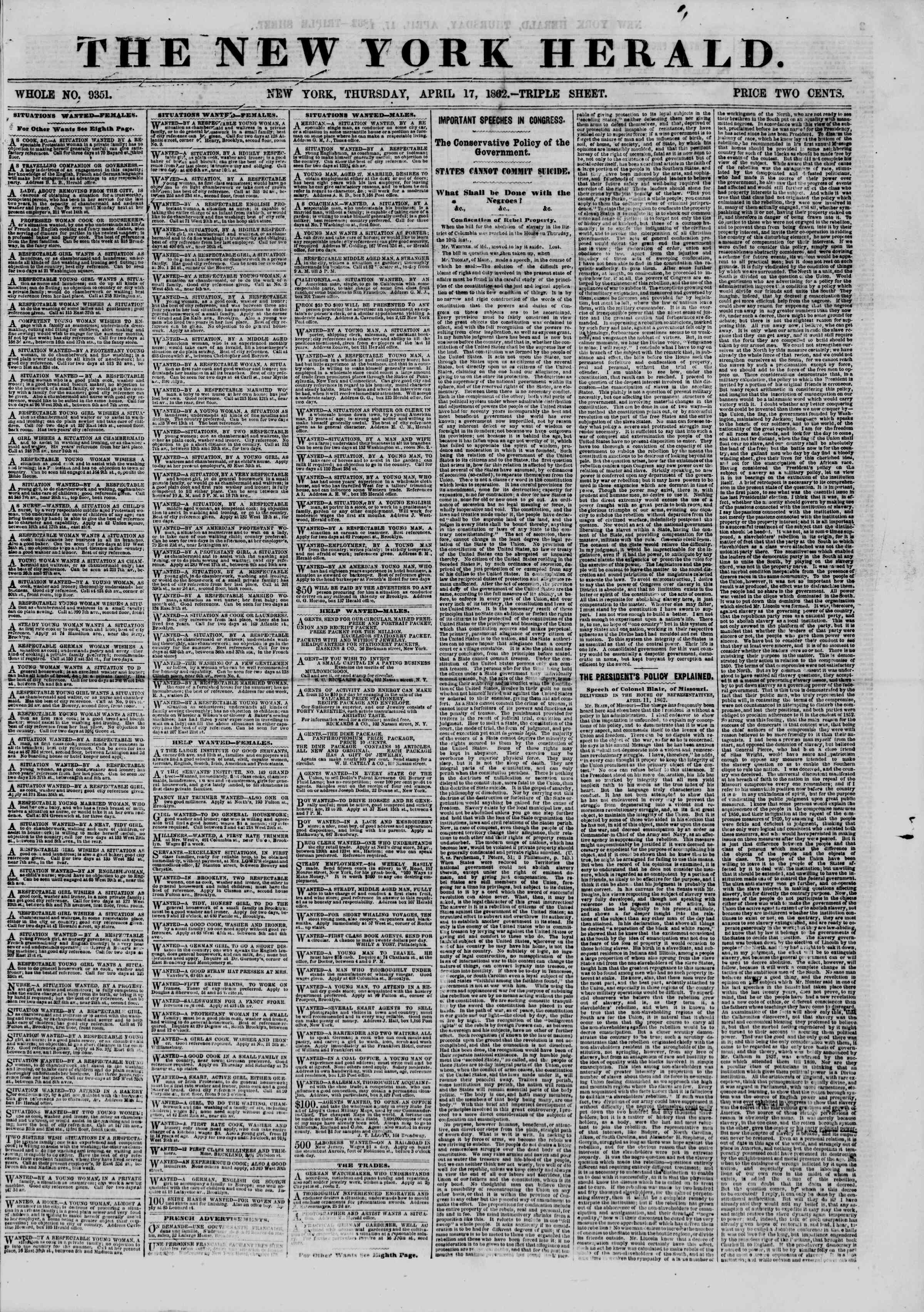 Newspaper of The New York Herald dated April 17, 1862 Page 1