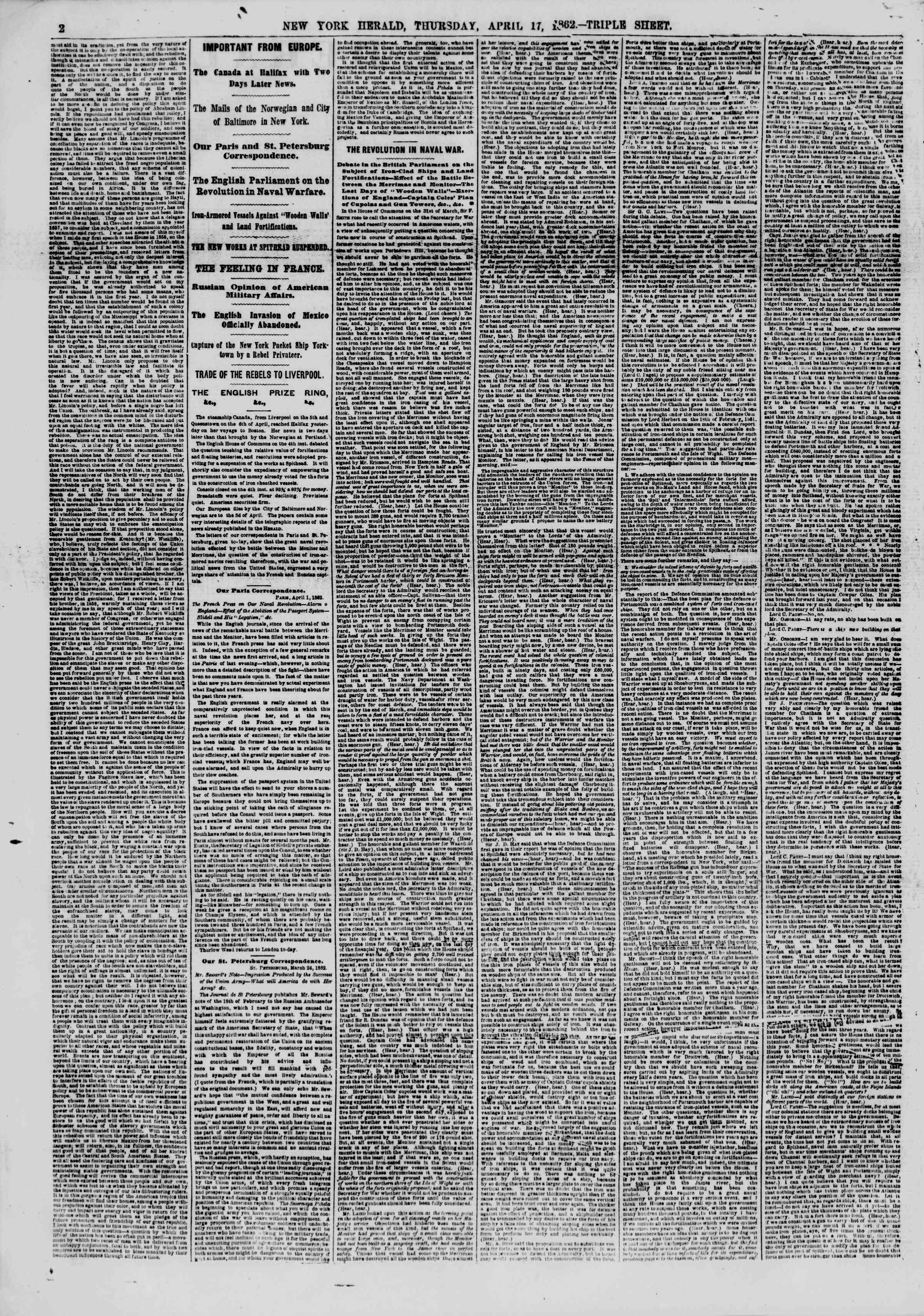 Newspaper of The New York Herald dated April 17, 1862 Page 2