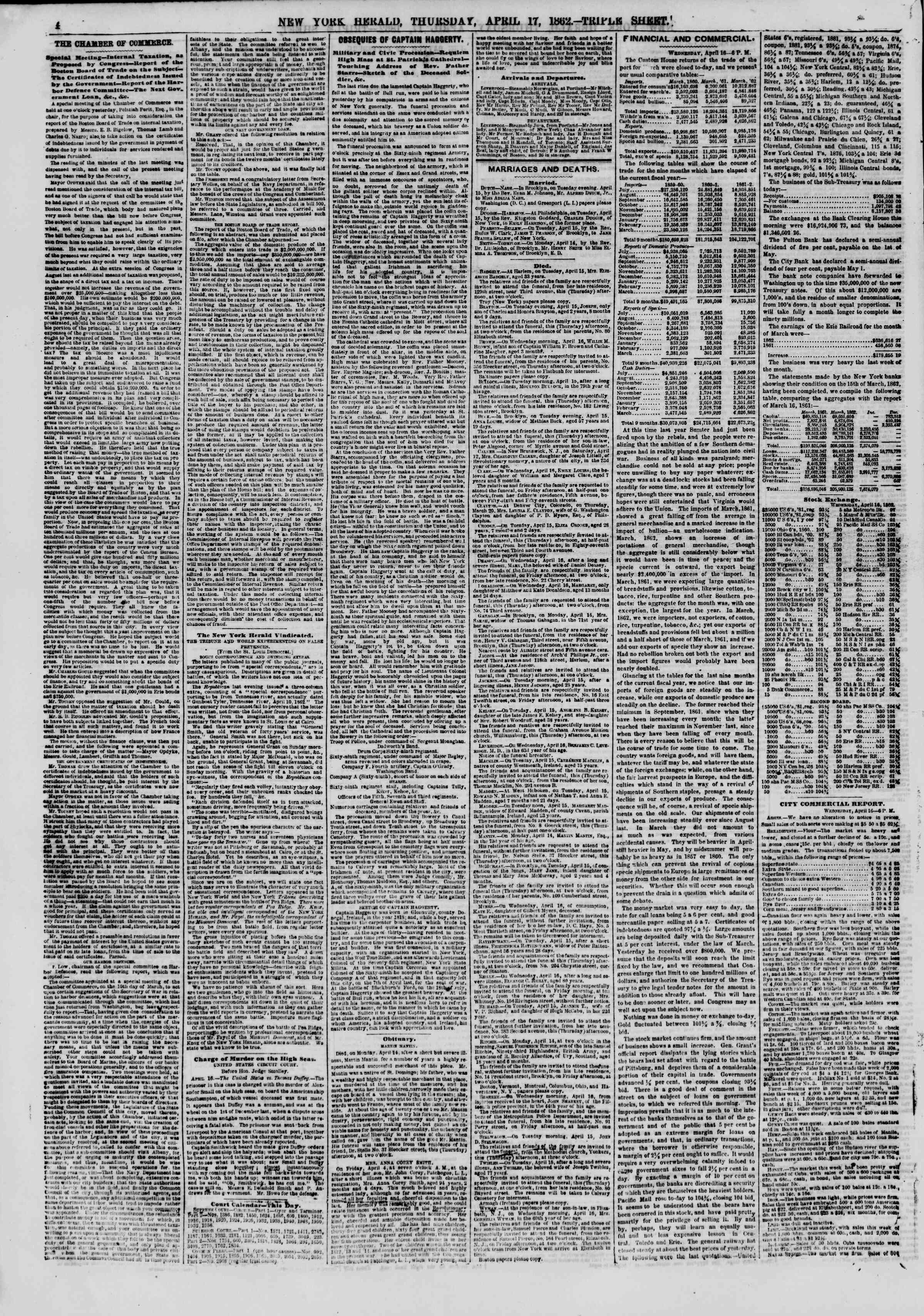 Newspaper of The New York Herald dated April 17, 1862 Page 4