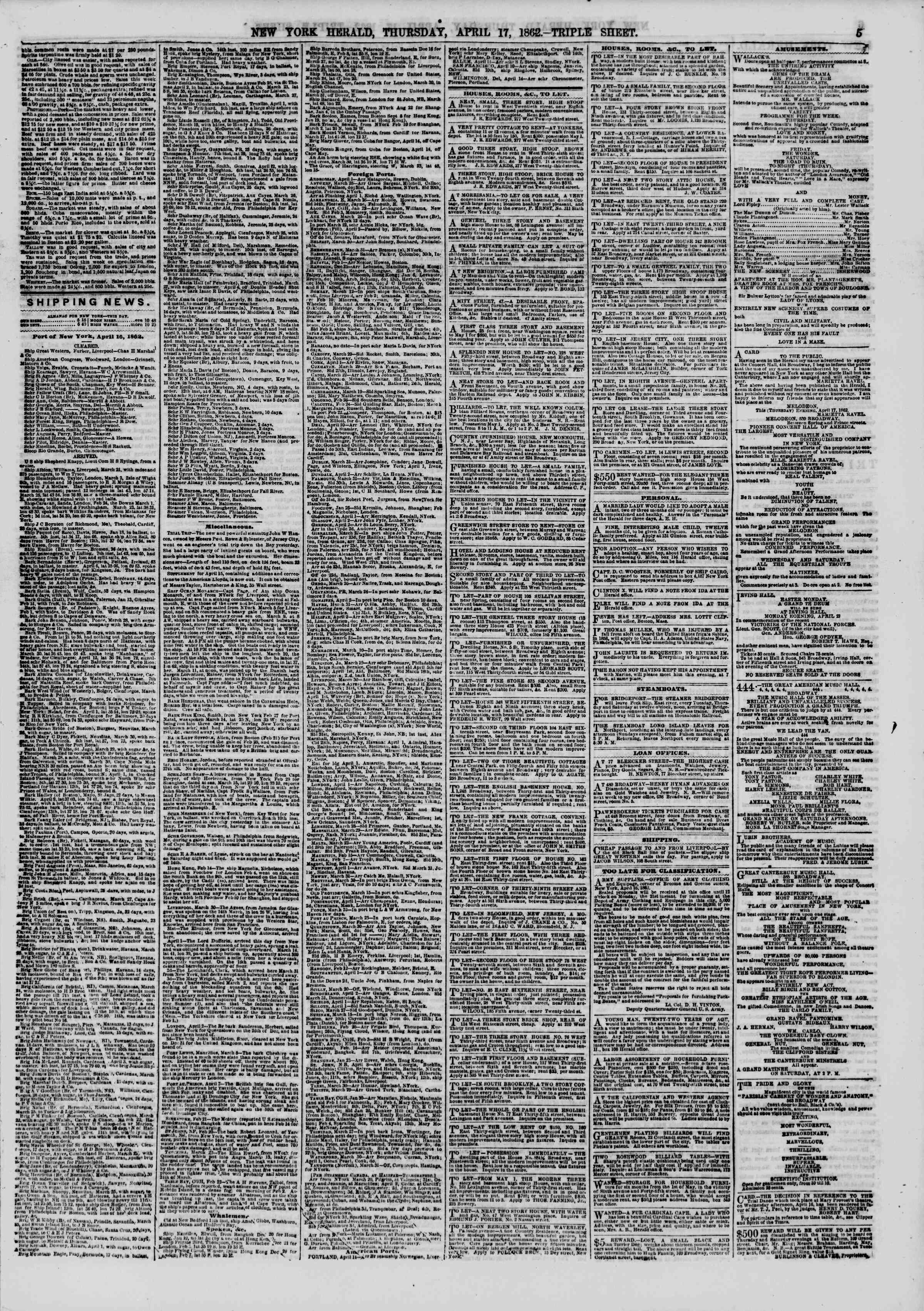 Newspaper of The New York Herald dated April 17, 1862 Page 5