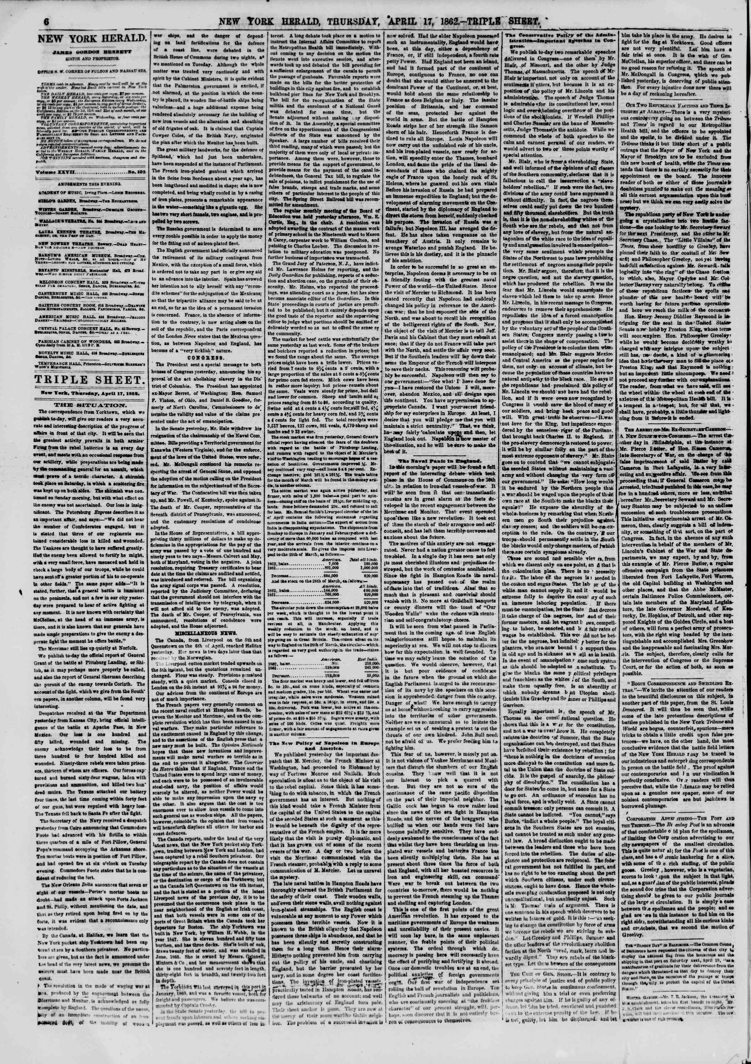 Newspaper of The New York Herald dated April 17, 1862 Page 6