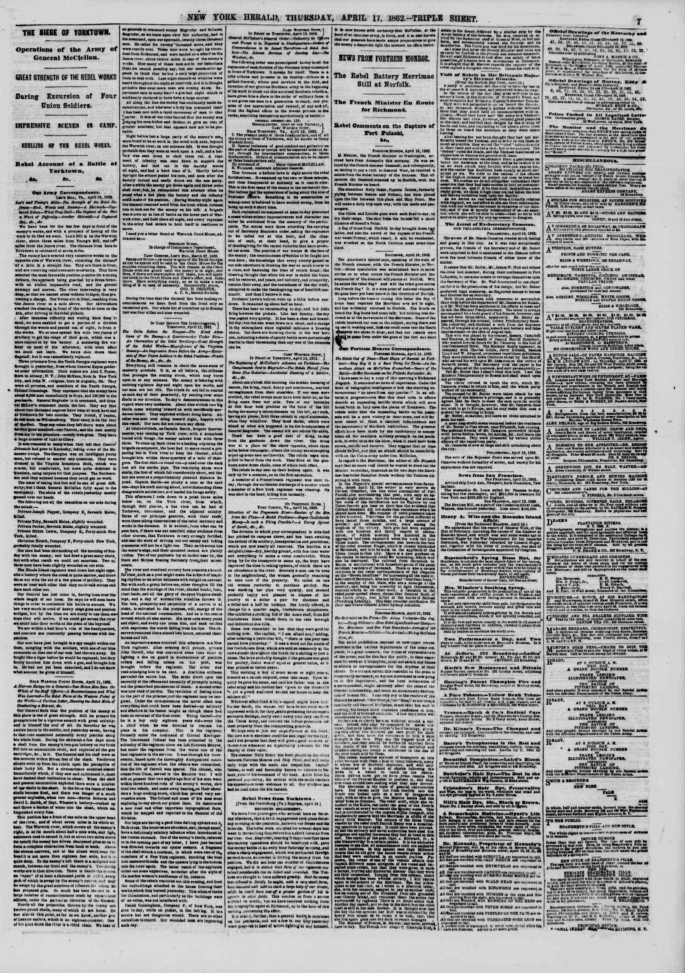 Newspaper of The New York Herald dated April 17, 1862 Page 7