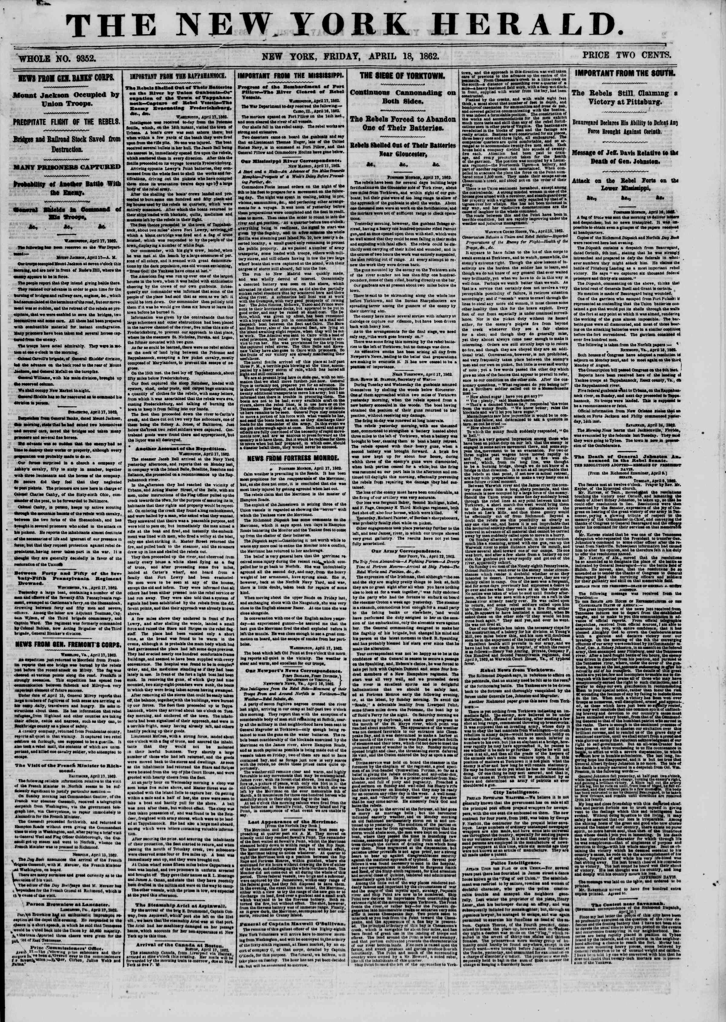 Newspaper of The New York Herald dated April 18, 1862 Page 1