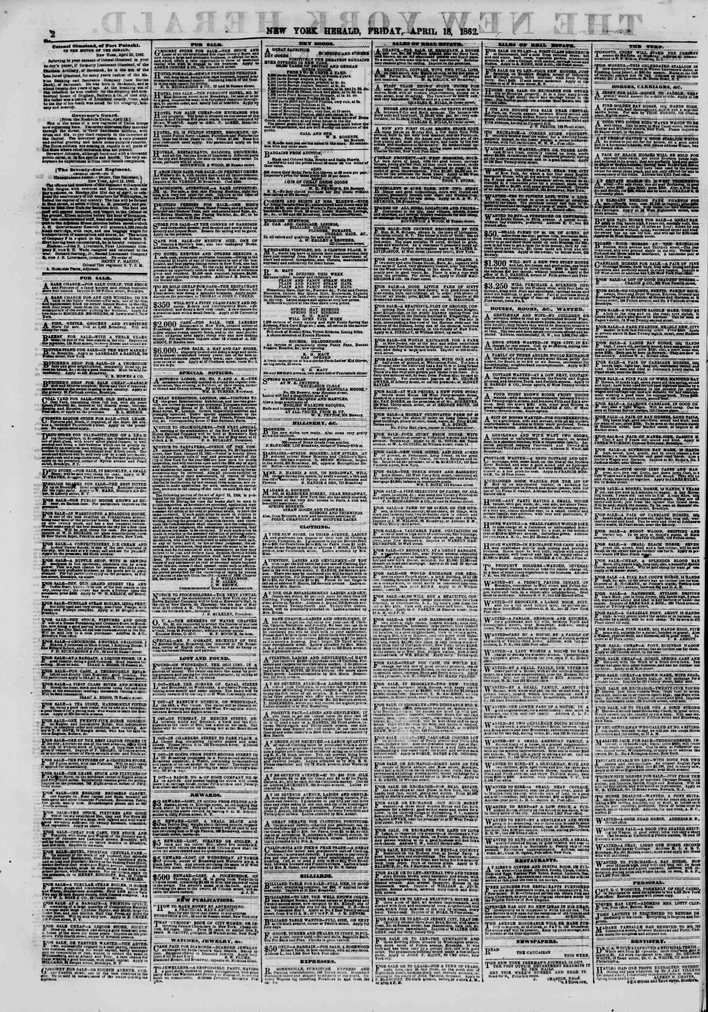 Newspaper of The New York Herald dated April 18, 1862 Page 2