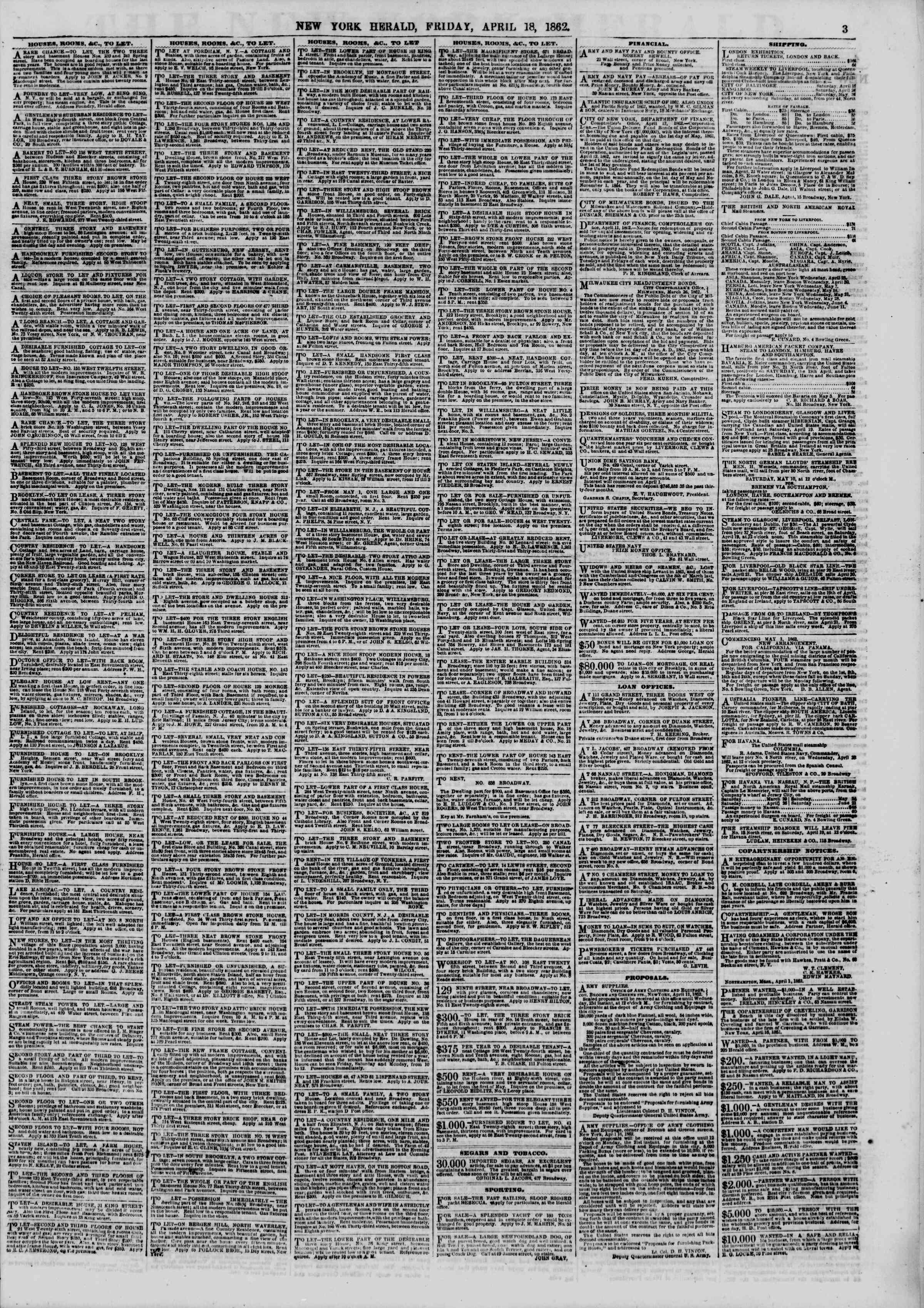 Newspaper of The New York Herald dated April 18, 1862 Page 3