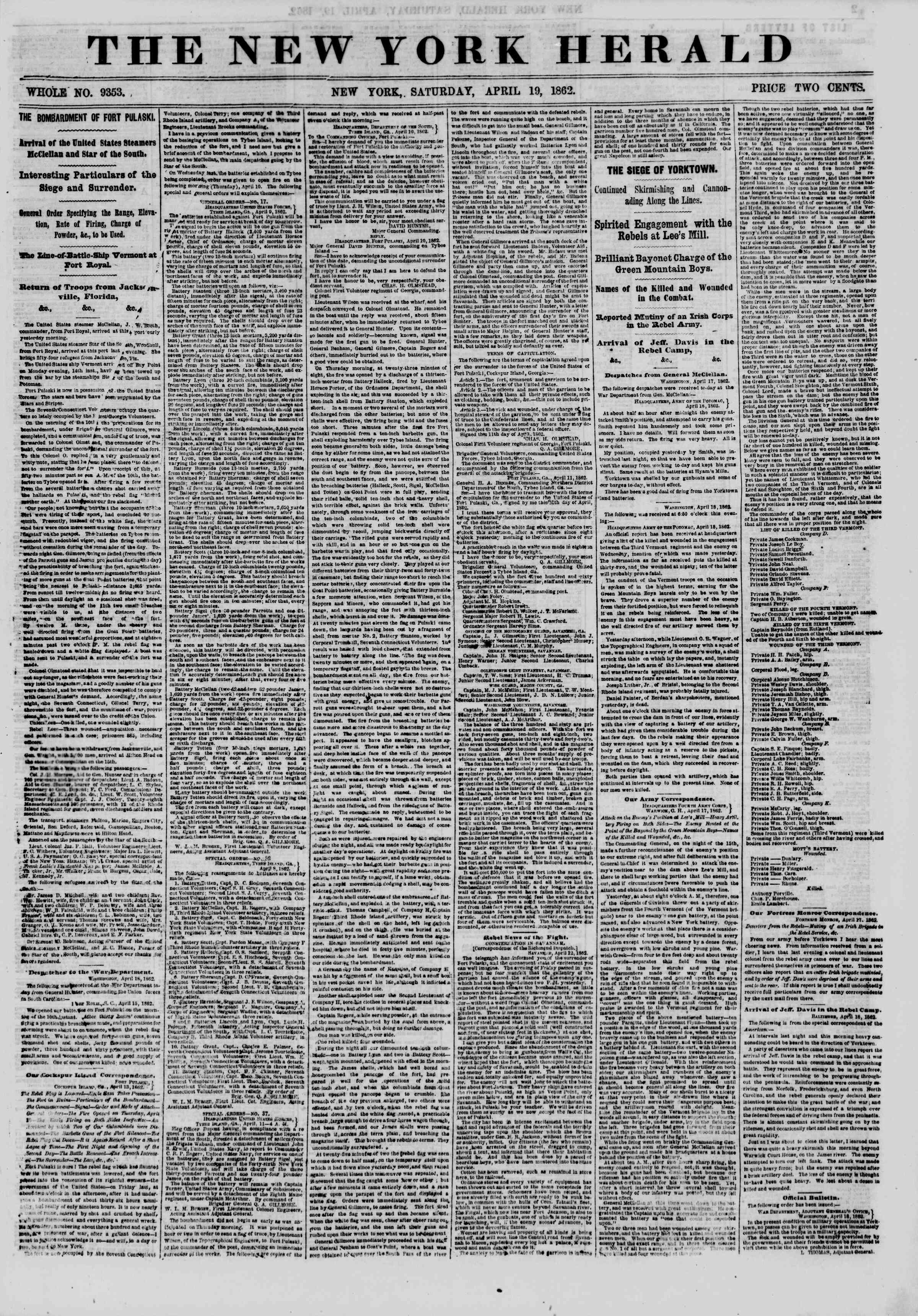 Newspaper of The New York Herald dated April 19, 1862 Page 1