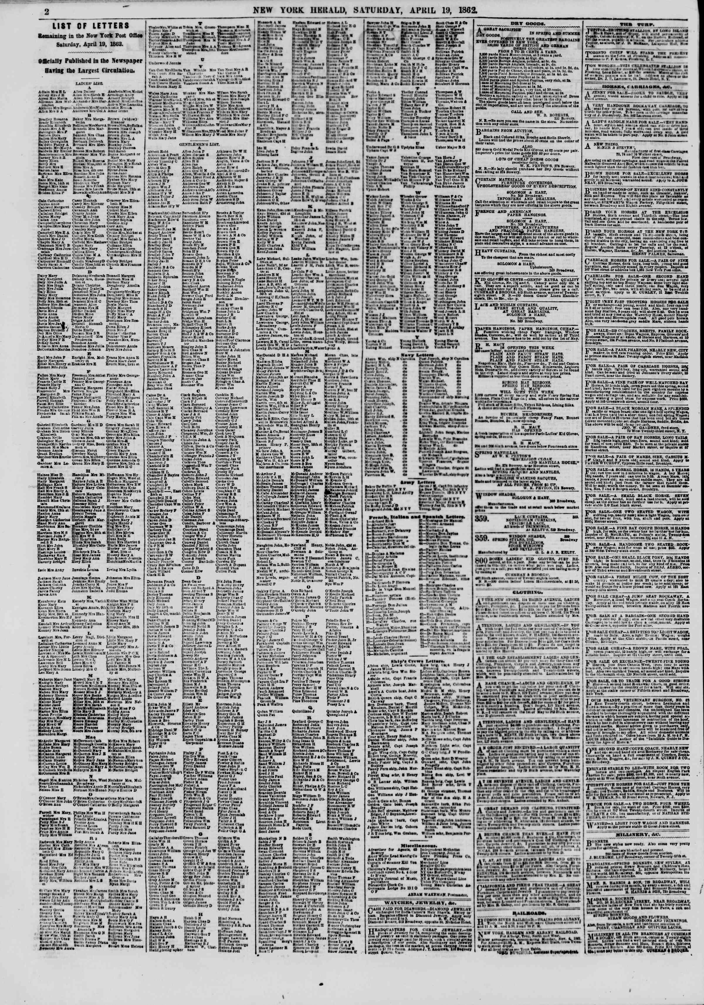 Newspaper of The New York Herald dated April 19, 1862 Page 2