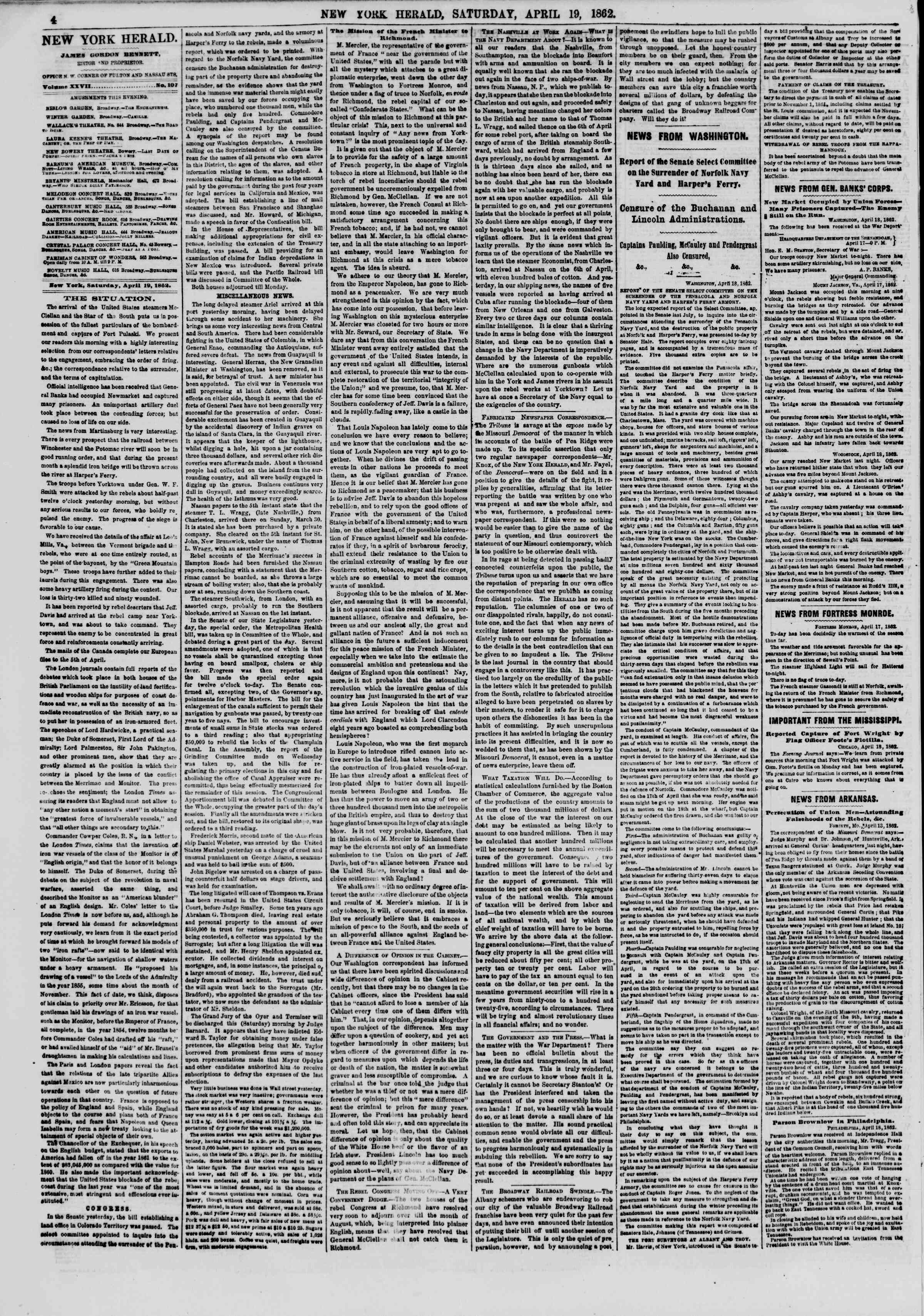 Newspaper of The New York Herald dated April 19, 1862 Page 4