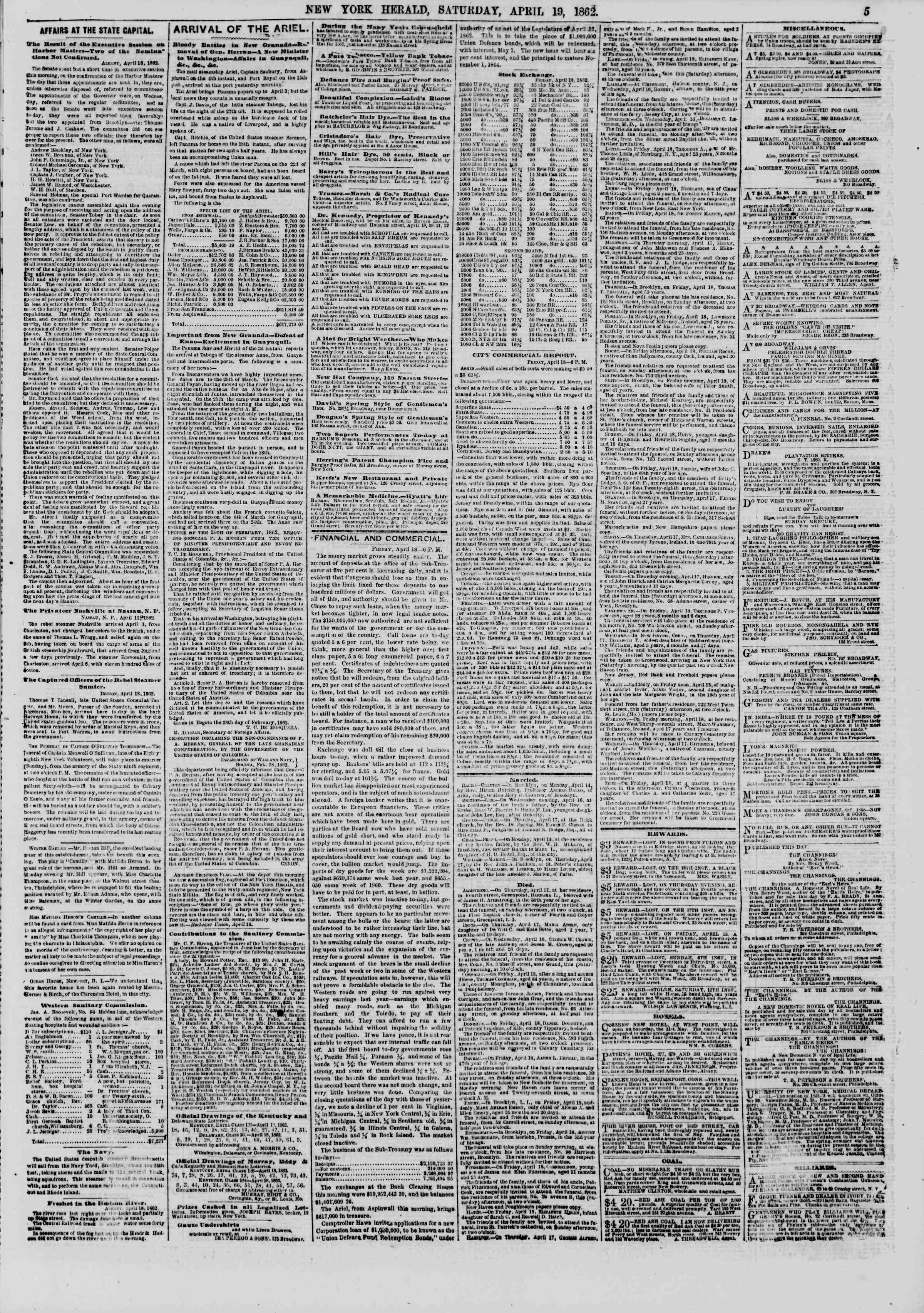 Newspaper of The New York Herald dated April 19, 1862 Page 5