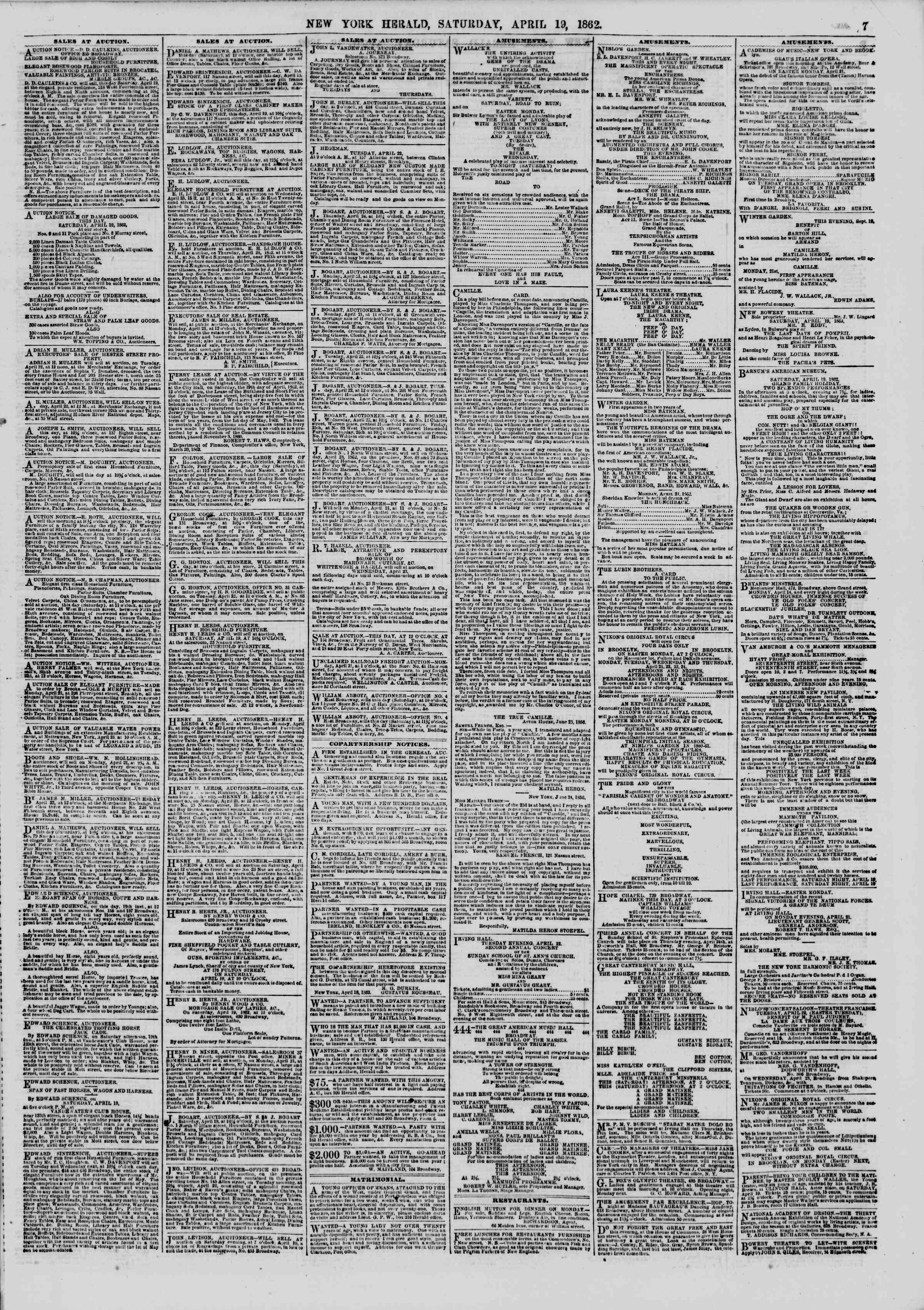 Newspaper of The New York Herald dated April 19, 1862 Page 7