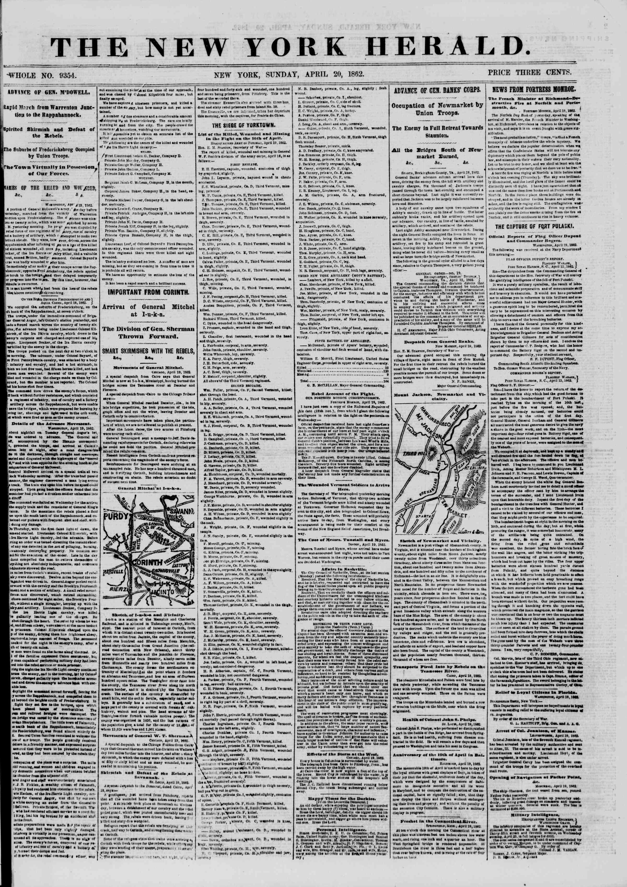 Newspaper of The New York Herald dated April 20, 1862 Page 1