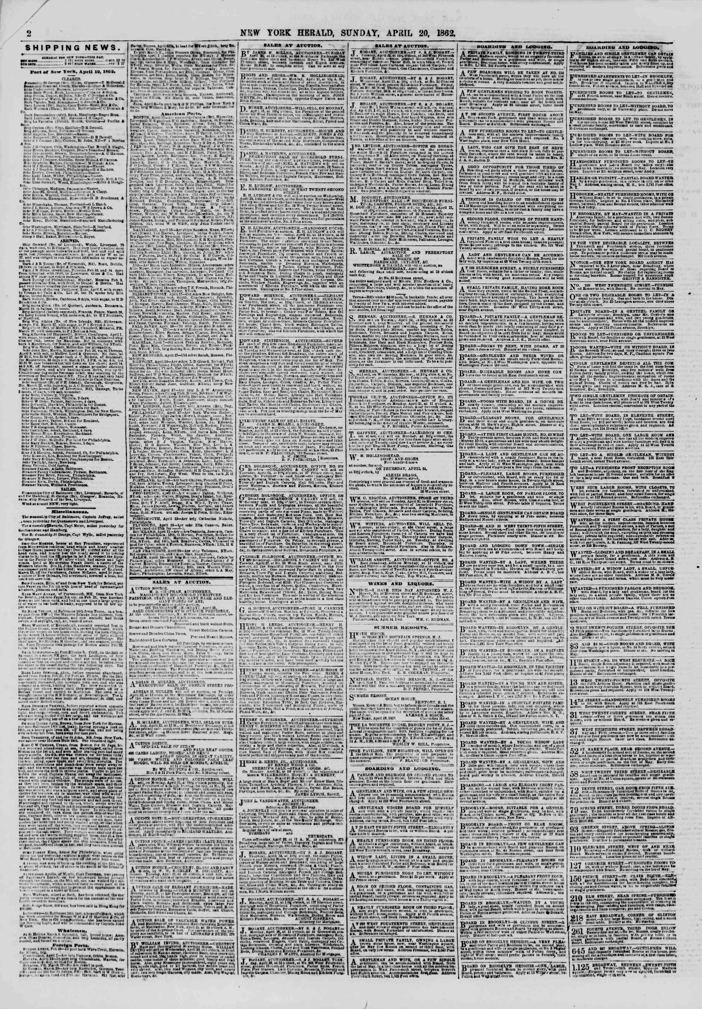 Newspaper of The New York Herald dated April 20, 1862 Page 2