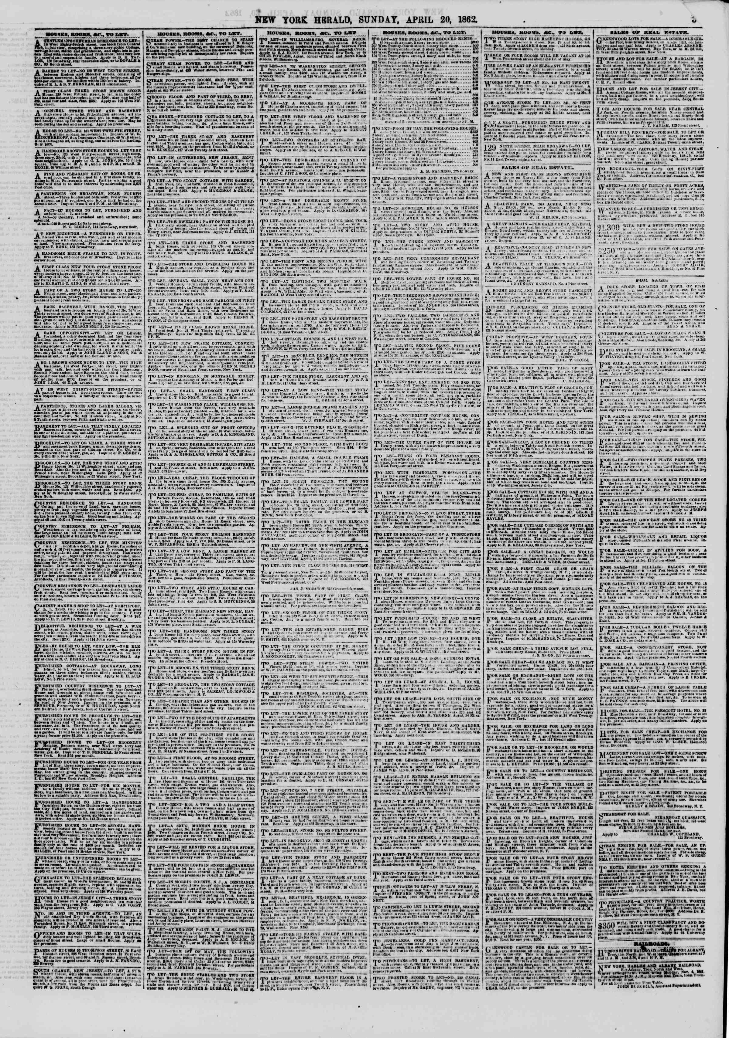Newspaper of The New York Herald dated April 20, 1862 Page 3