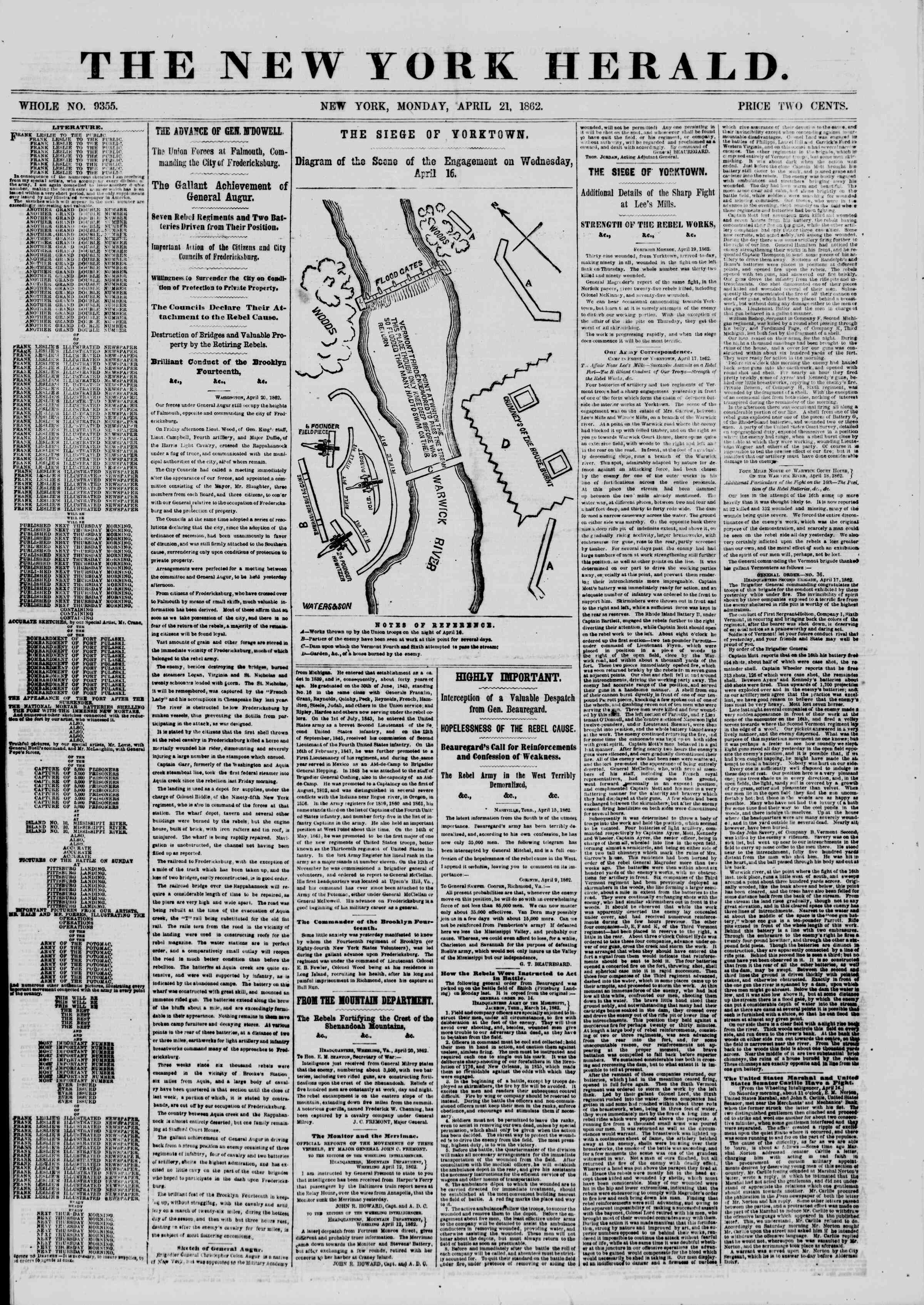 Newspaper of The New York Herald dated April 21, 1862 Page 1