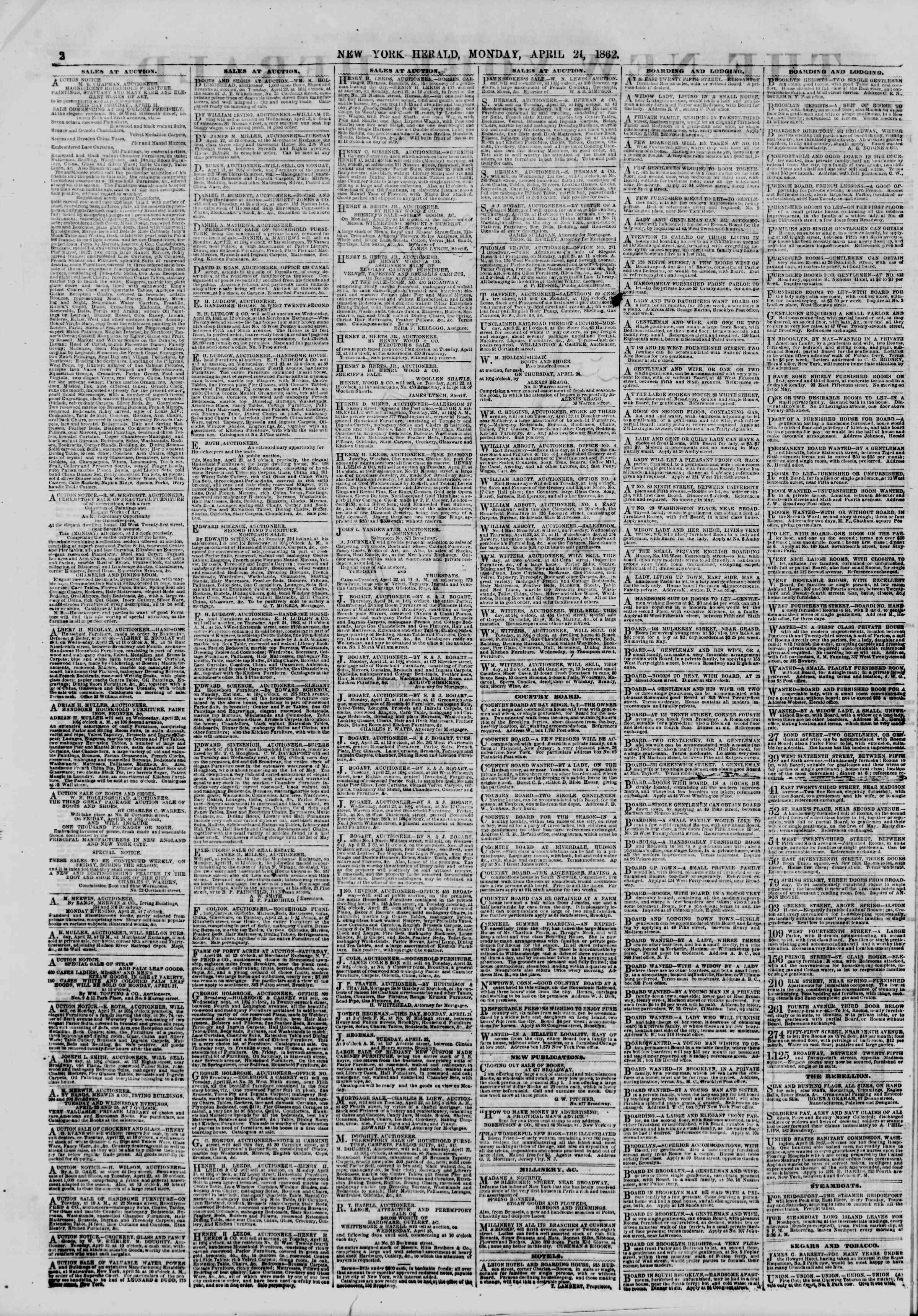 Newspaper of The New York Herald dated April 21, 1862 Page 2