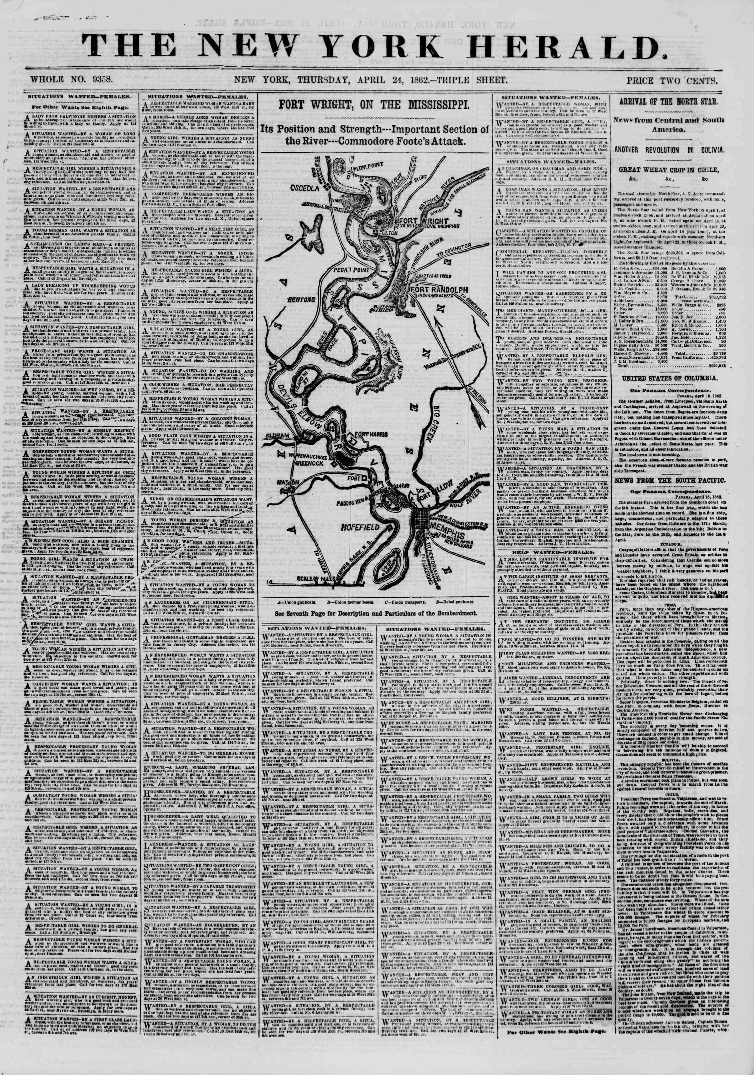 Newspaper of The New York Herald dated April 24, 1862 Page 1