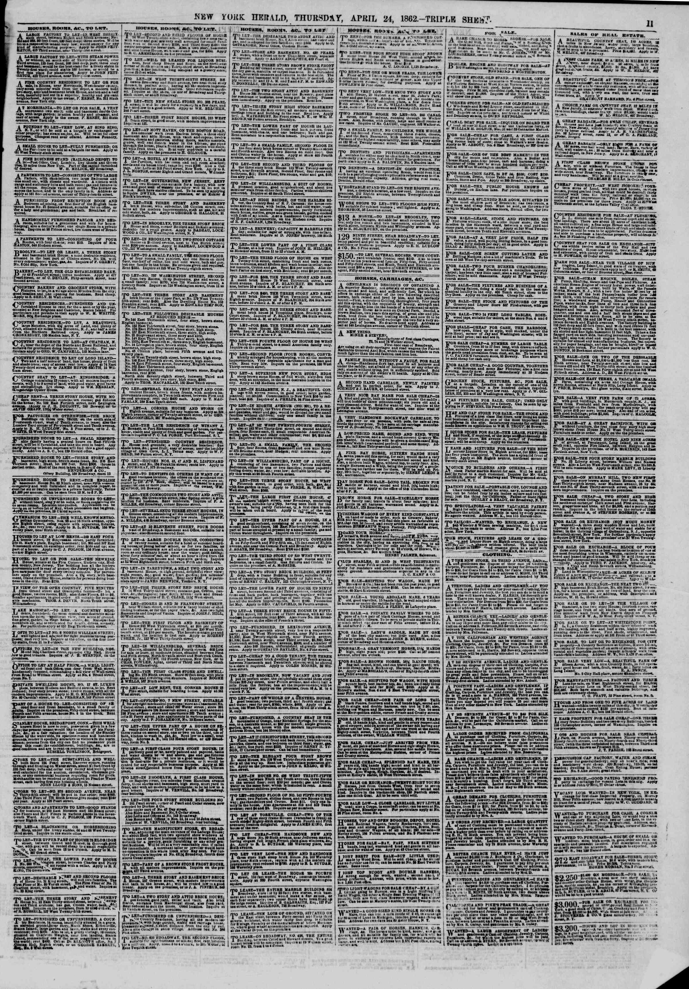 Newspaper of The New York Herald dated April 24, 1862 Page 11