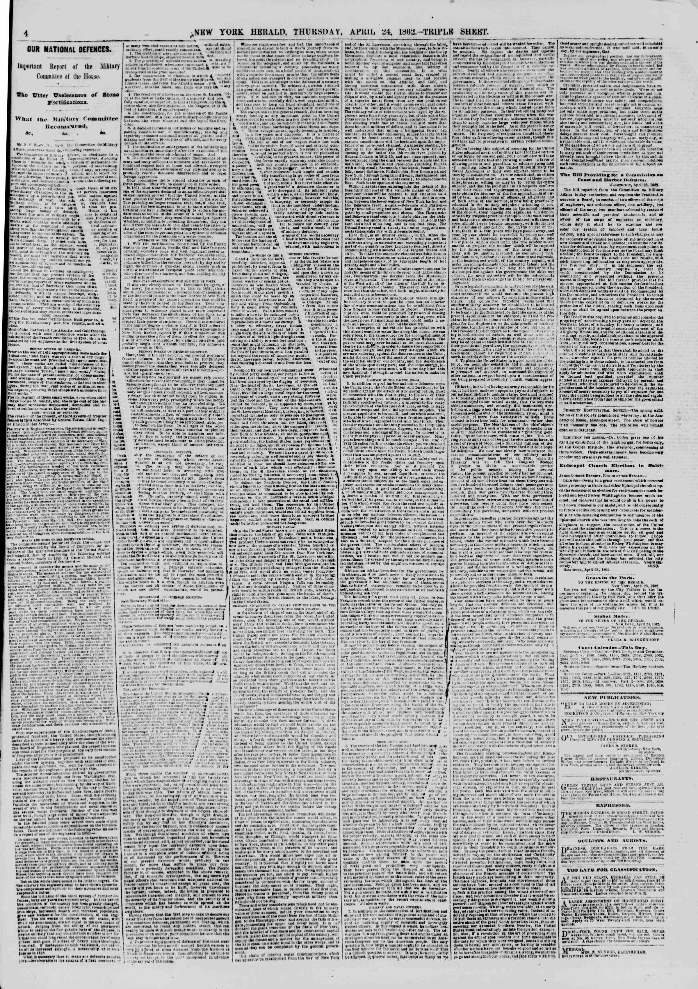 Newspaper of The New York Herald dated April 24, 1862 Page 4
