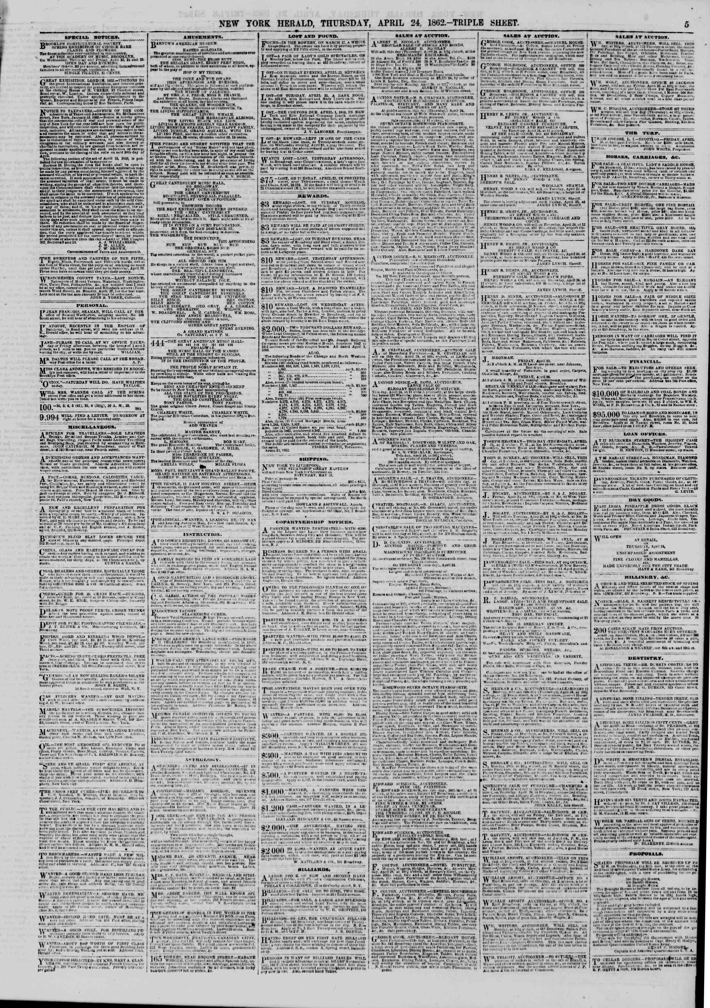 Newspaper of The New York Herald dated April 24, 1862 Page 5