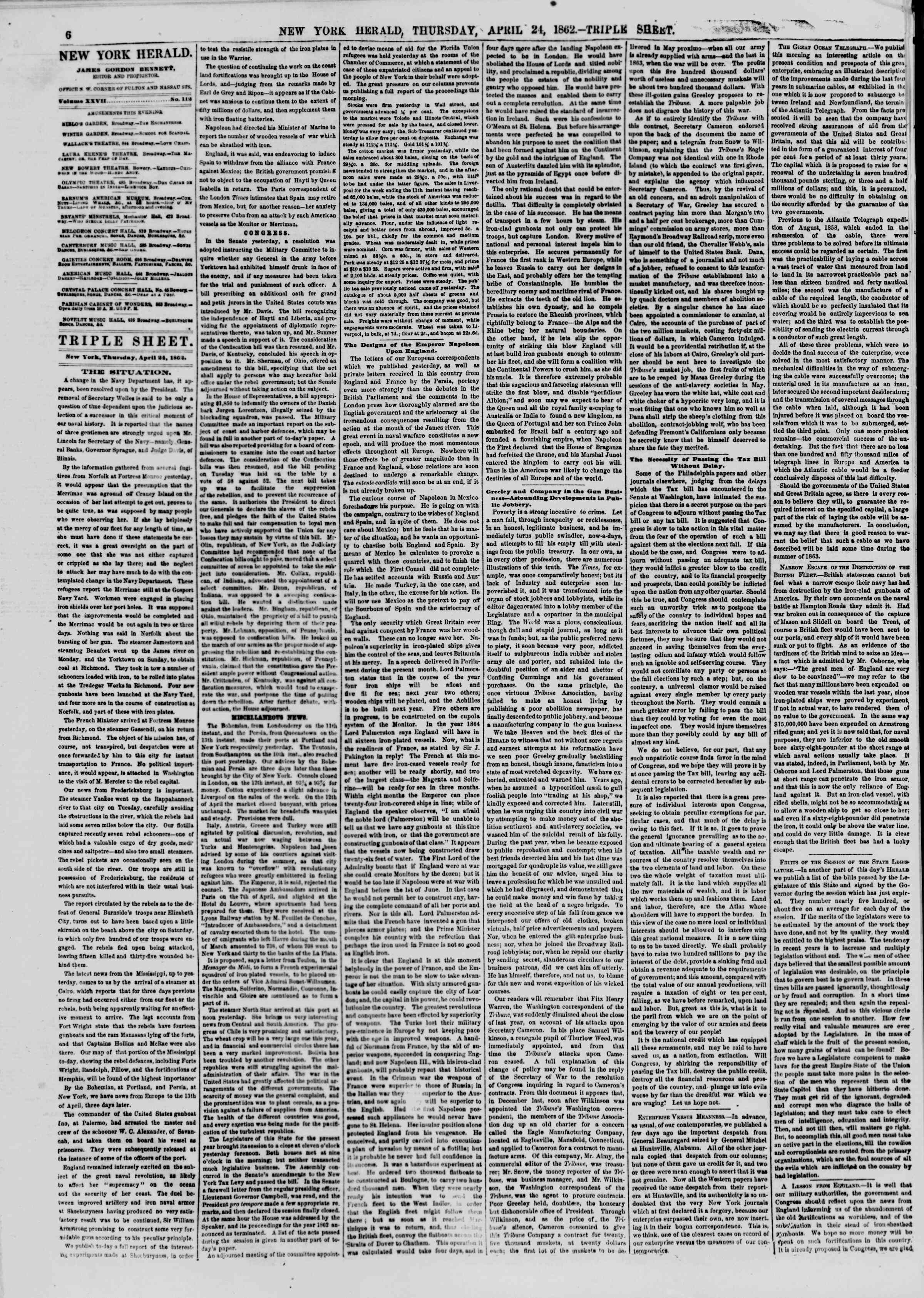 Newspaper of The New York Herald dated April 24, 1862 Page 6