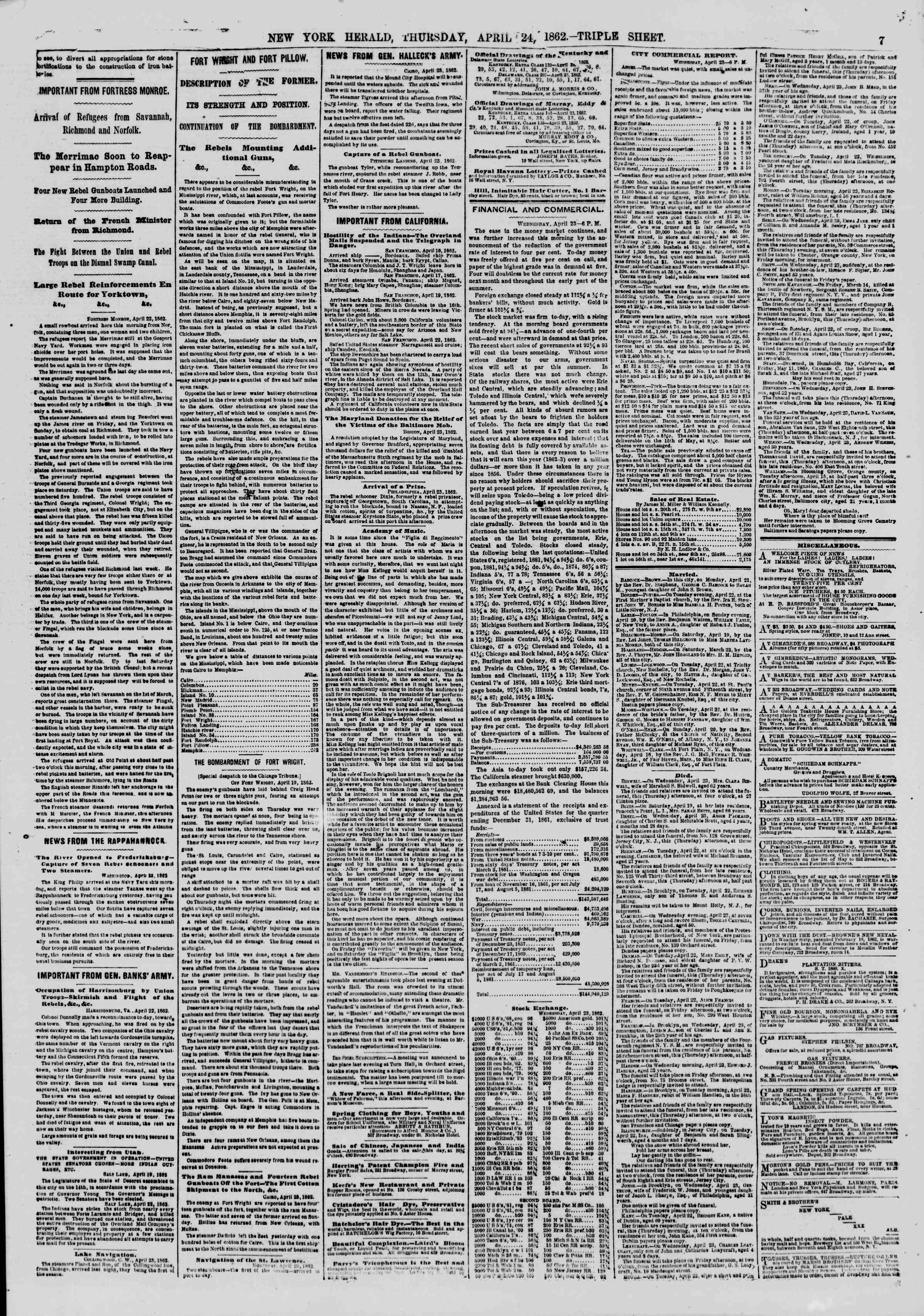 Newspaper of The New York Herald dated April 24, 1862 Page 7