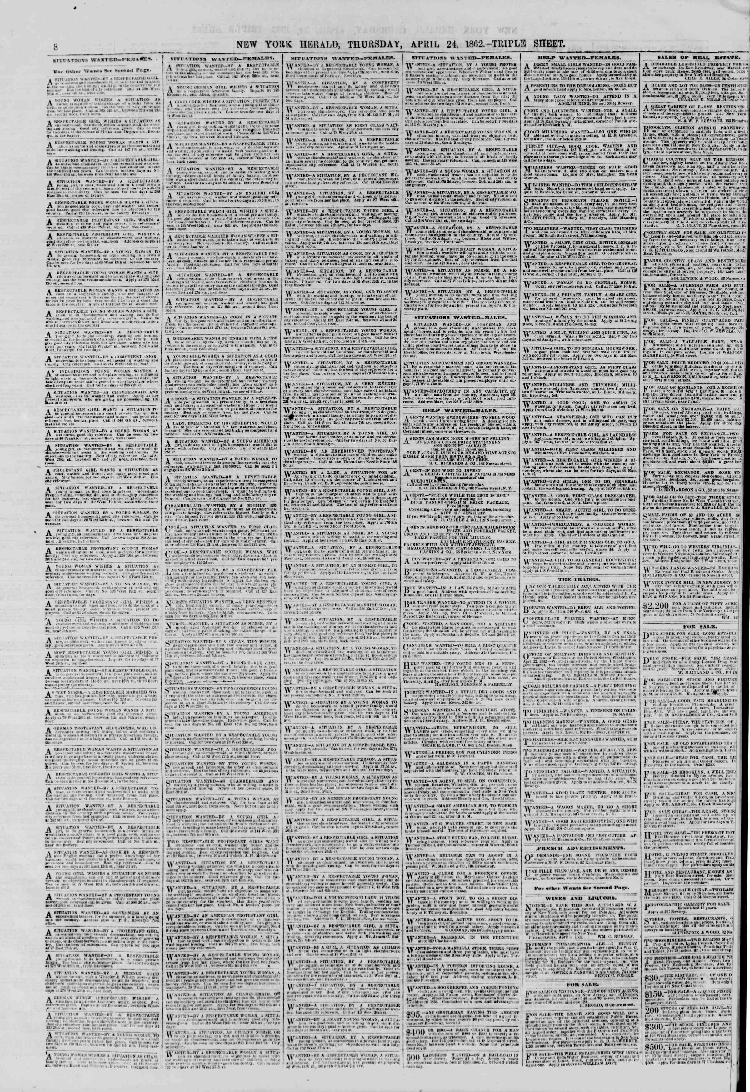 24 Nisan 1862 tarihli The New York Herald Gazetesi Sayfa 8