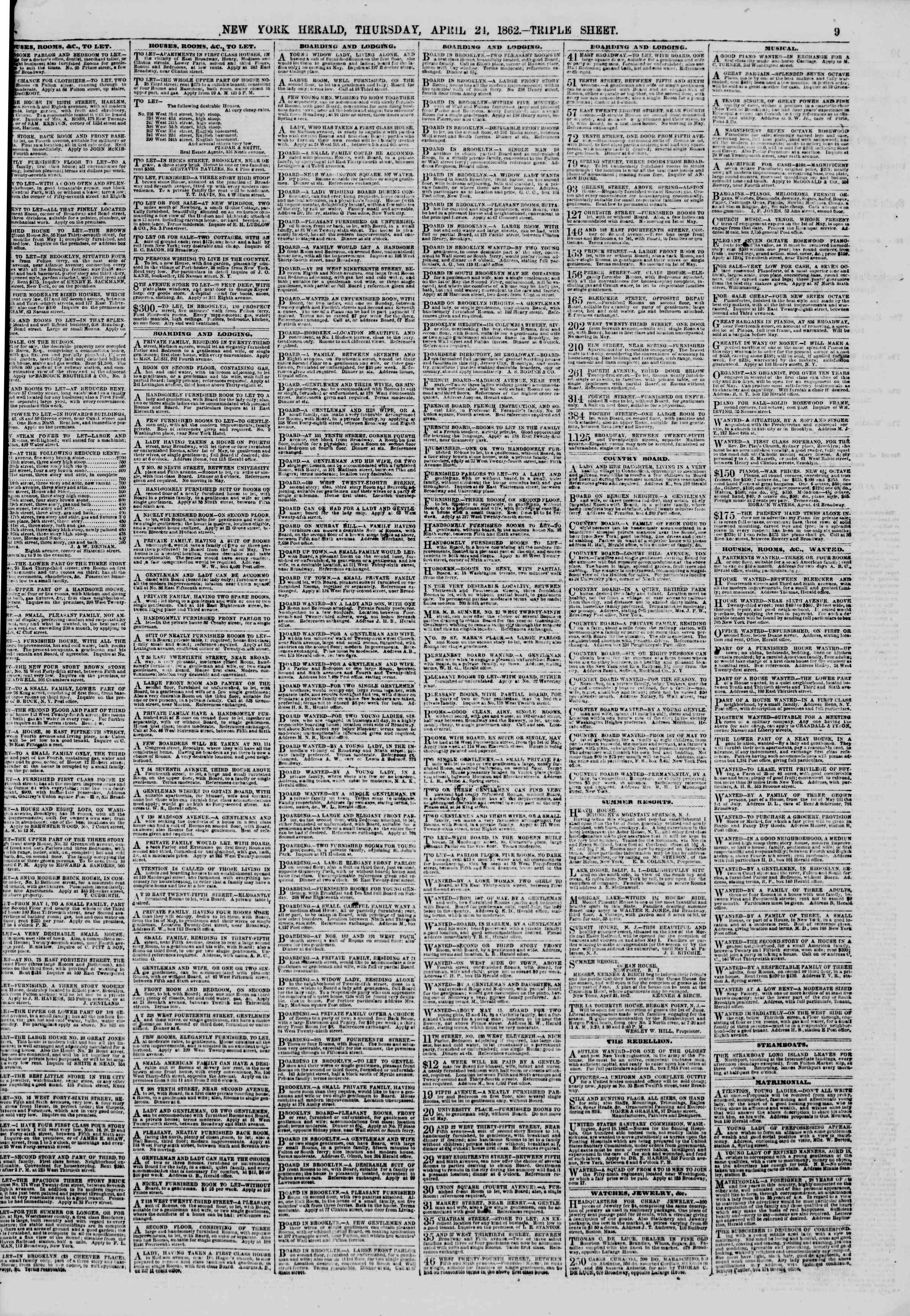Newspaper of The New York Herald dated April 24, 1862 Page 9