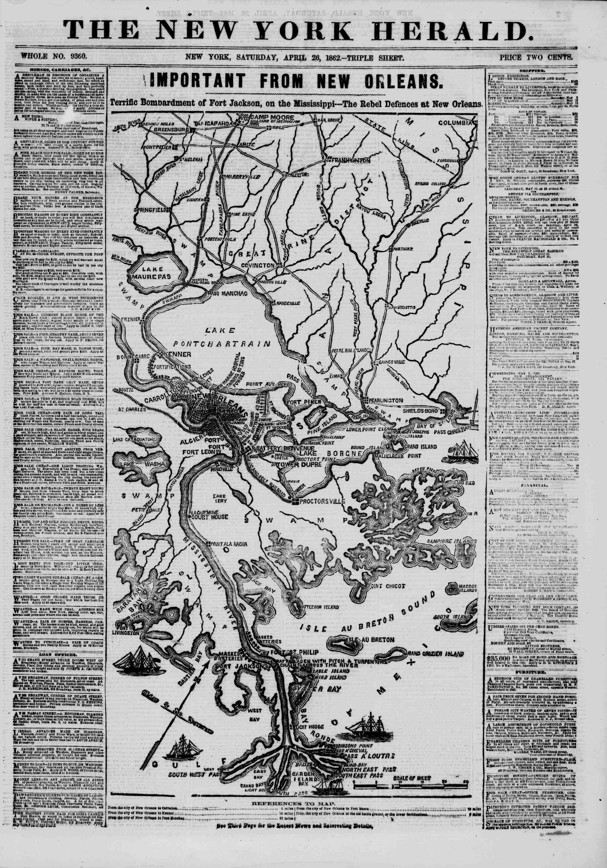 April 26, 1862 tarihli The New York Herald Gazetesi Sayfa 1