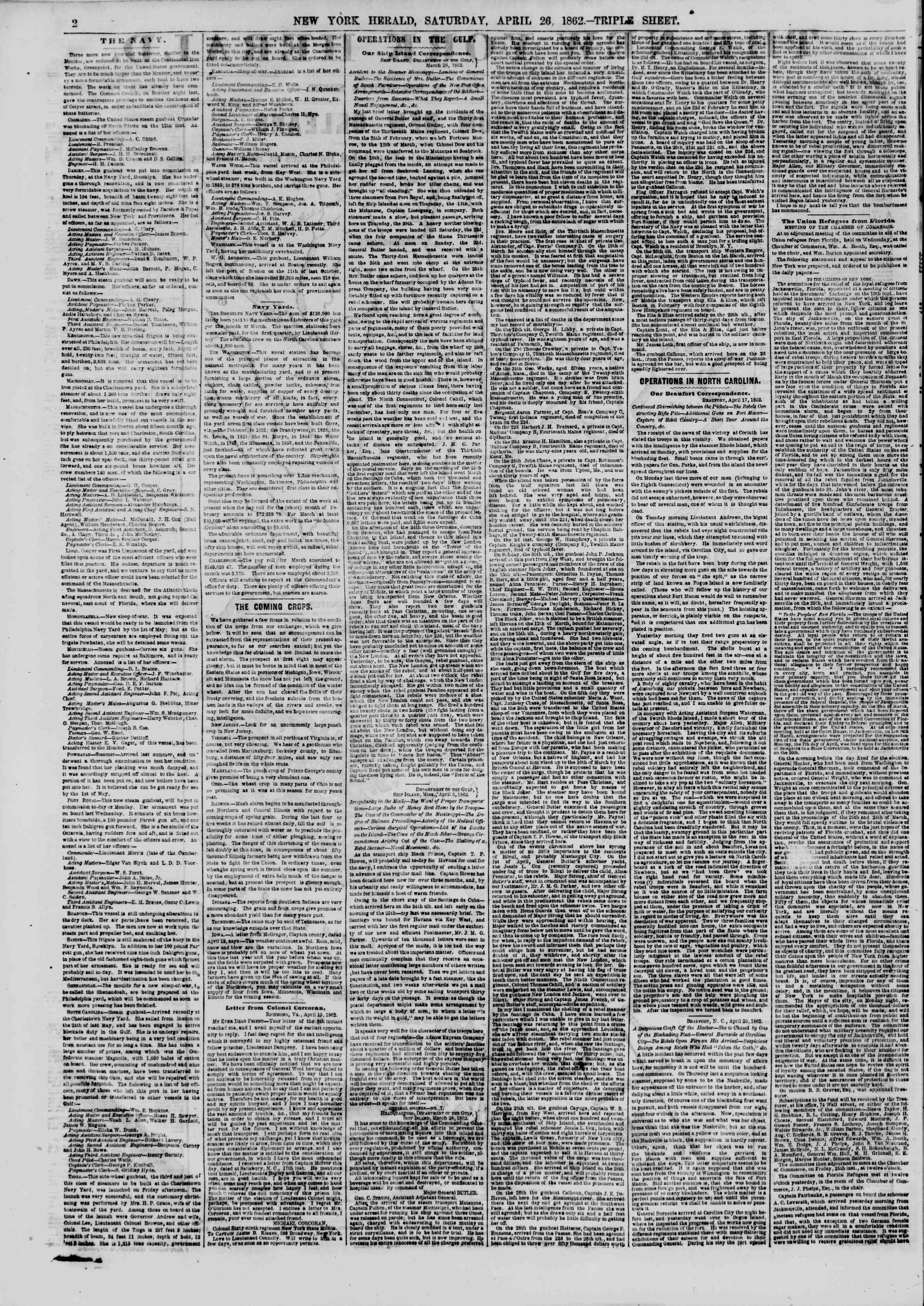 Newspaper of The New York Herald dated April 26, 1862 Page 2