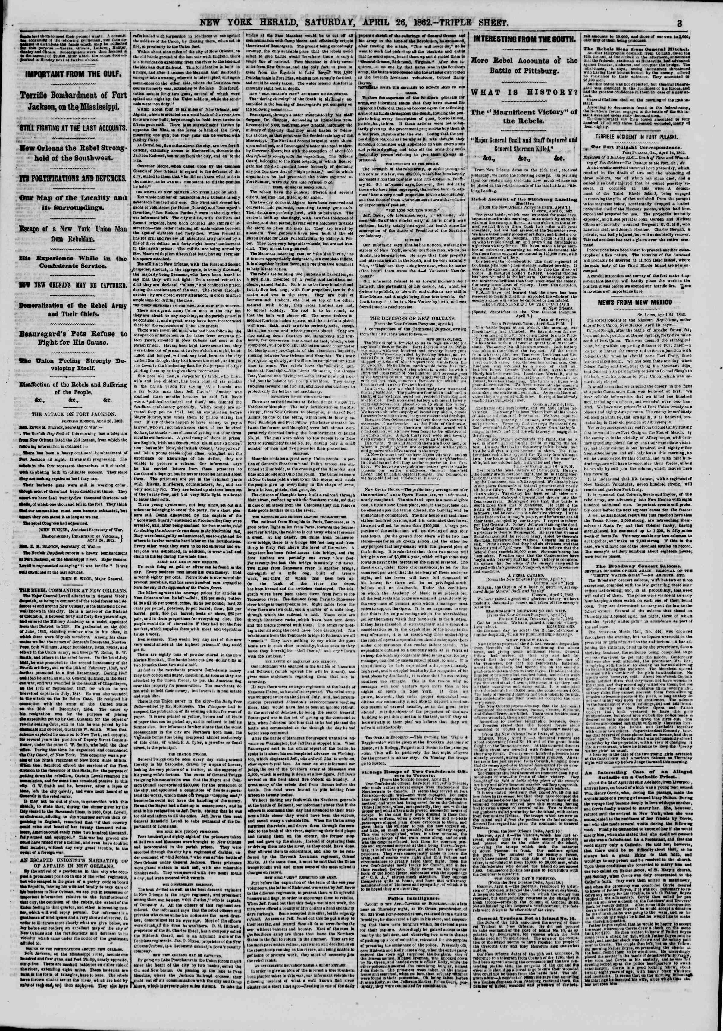 Newspaper of The New York Herald dated April 26, 1862 Page 3