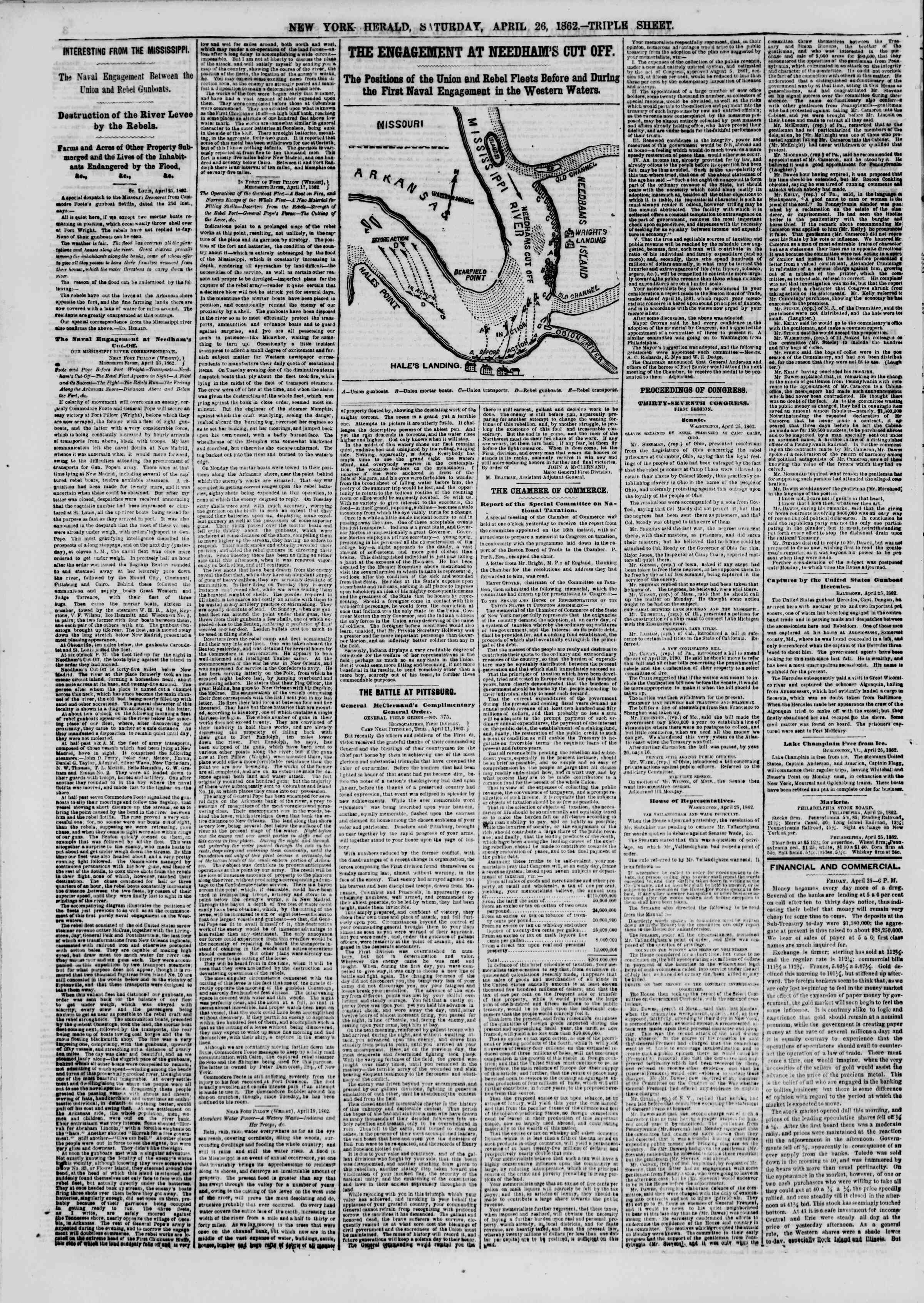 Newspaper of The New York Herald dated April 26, 1862 Page 4