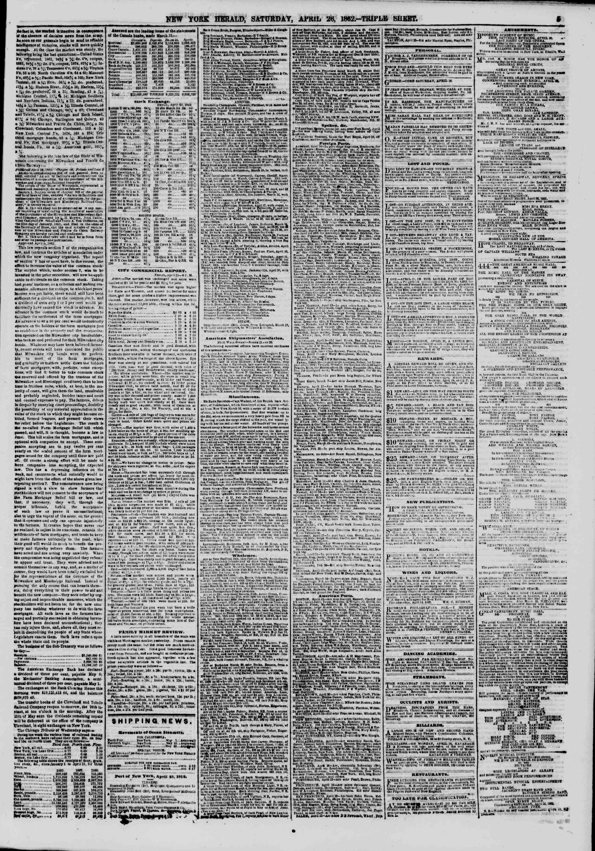 Newspaper of The New York Herald dated April 26, 1862 Page 5