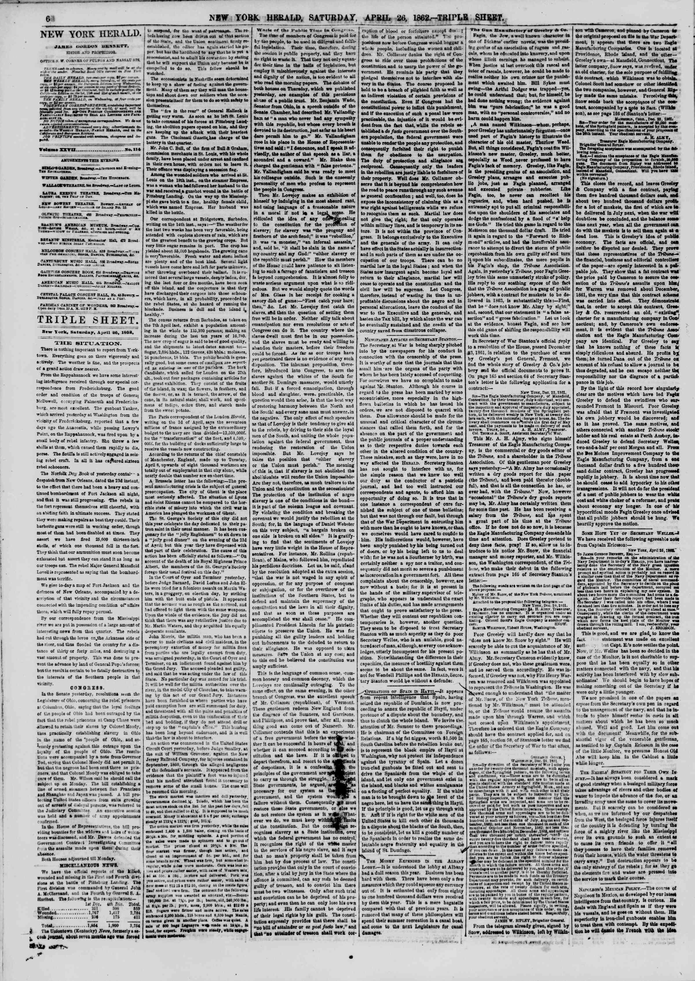 Newspaper of The New York Herald dated April 26, 1862 Page 6