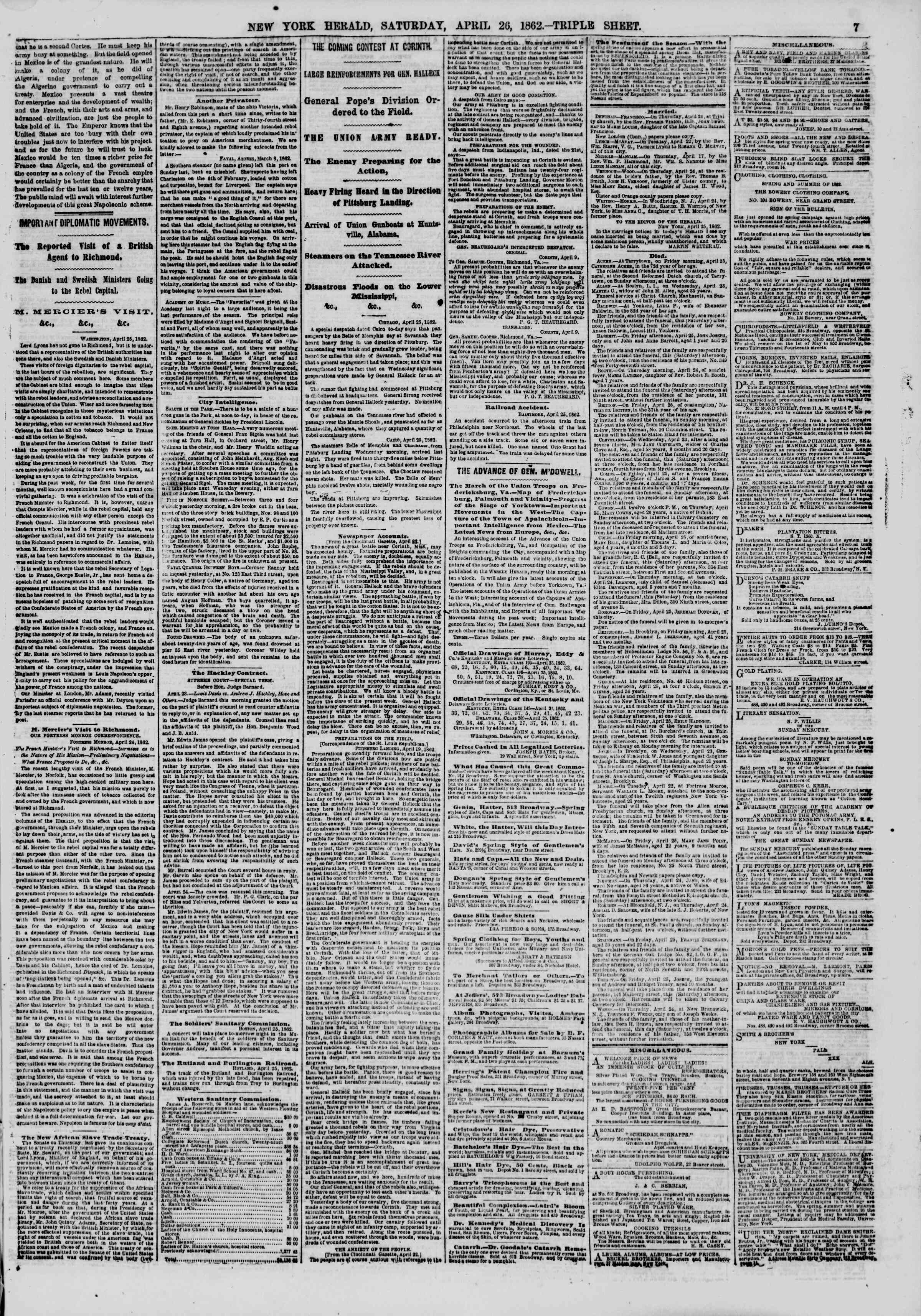 Newspaper of The New York Herald dated April 26, 1862 Page 7