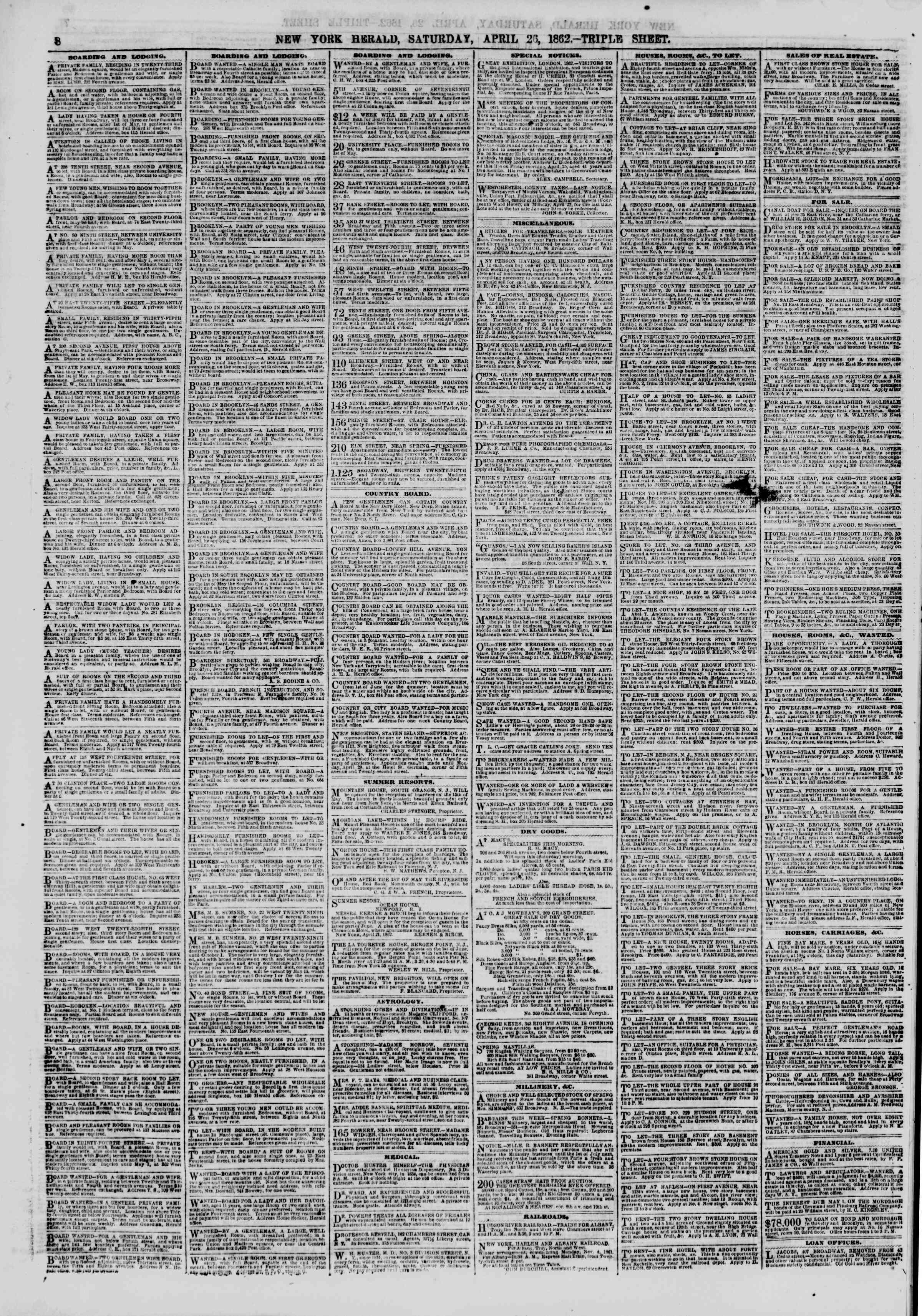 Newspaper of The New York Herald dated April 26, 1862 Page 8