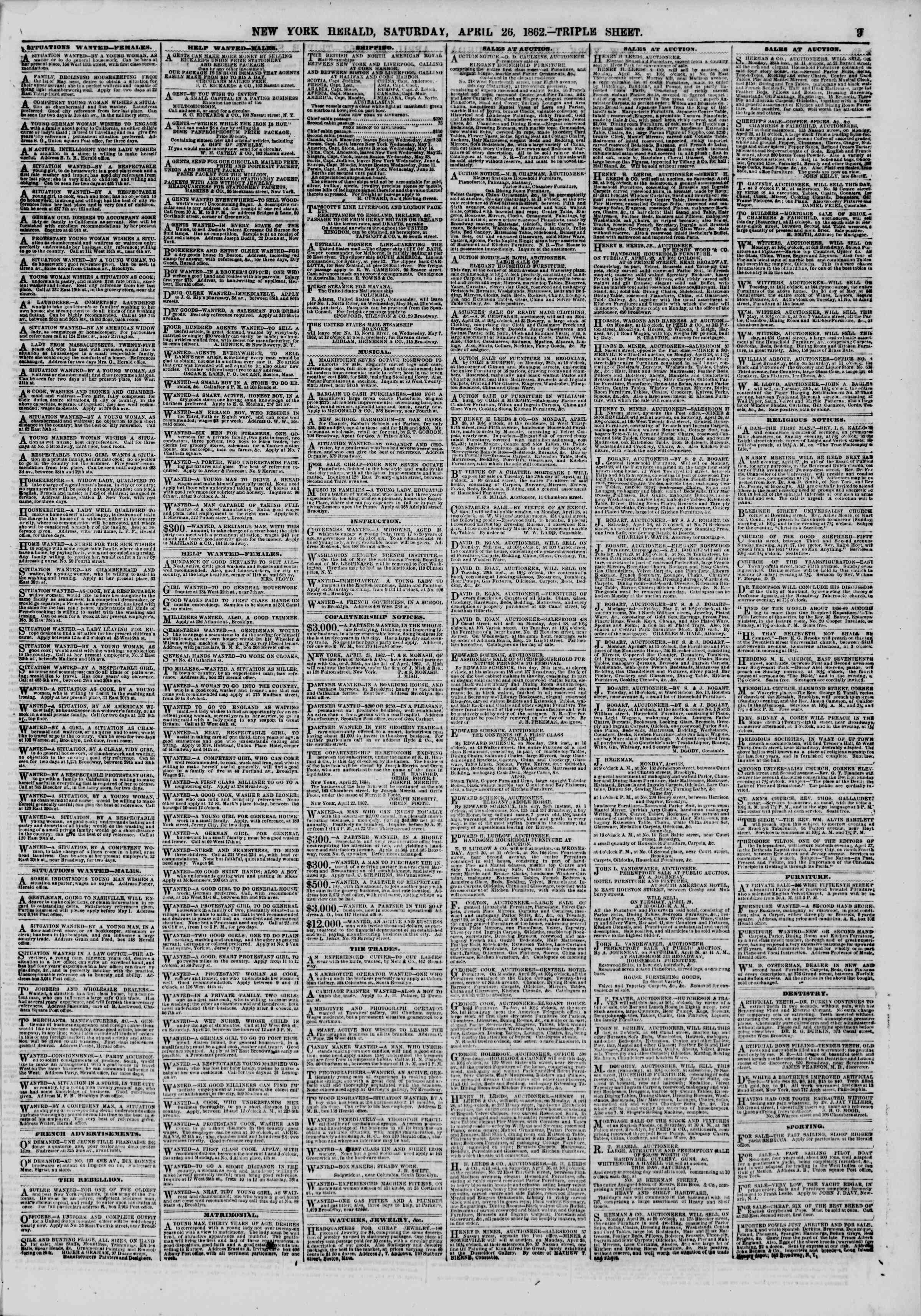 Newspaper of The New York Herald dated April 26, 1862 Page 9