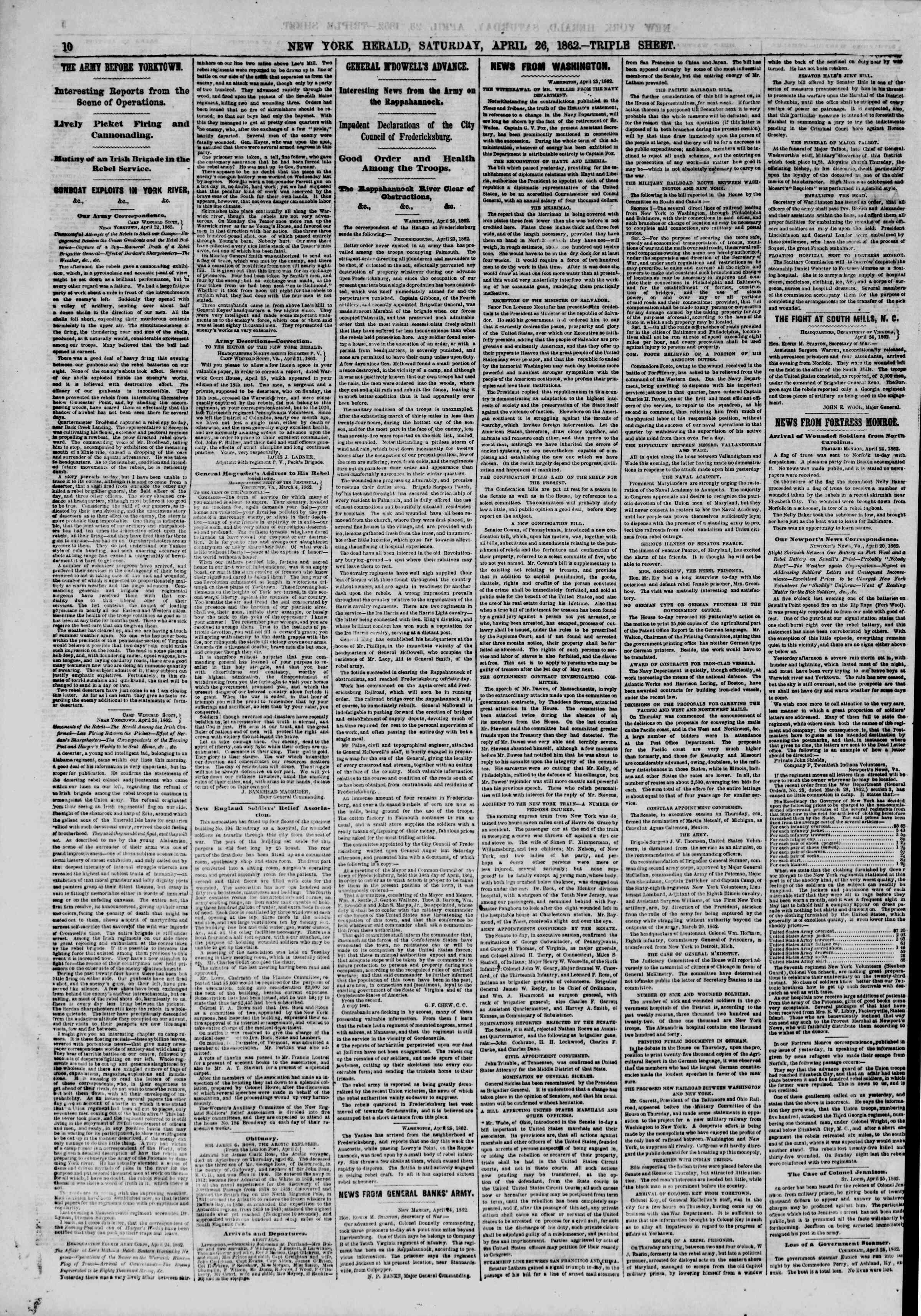 Newspaper of The New York Herald dated April 26, 1862 Page 10